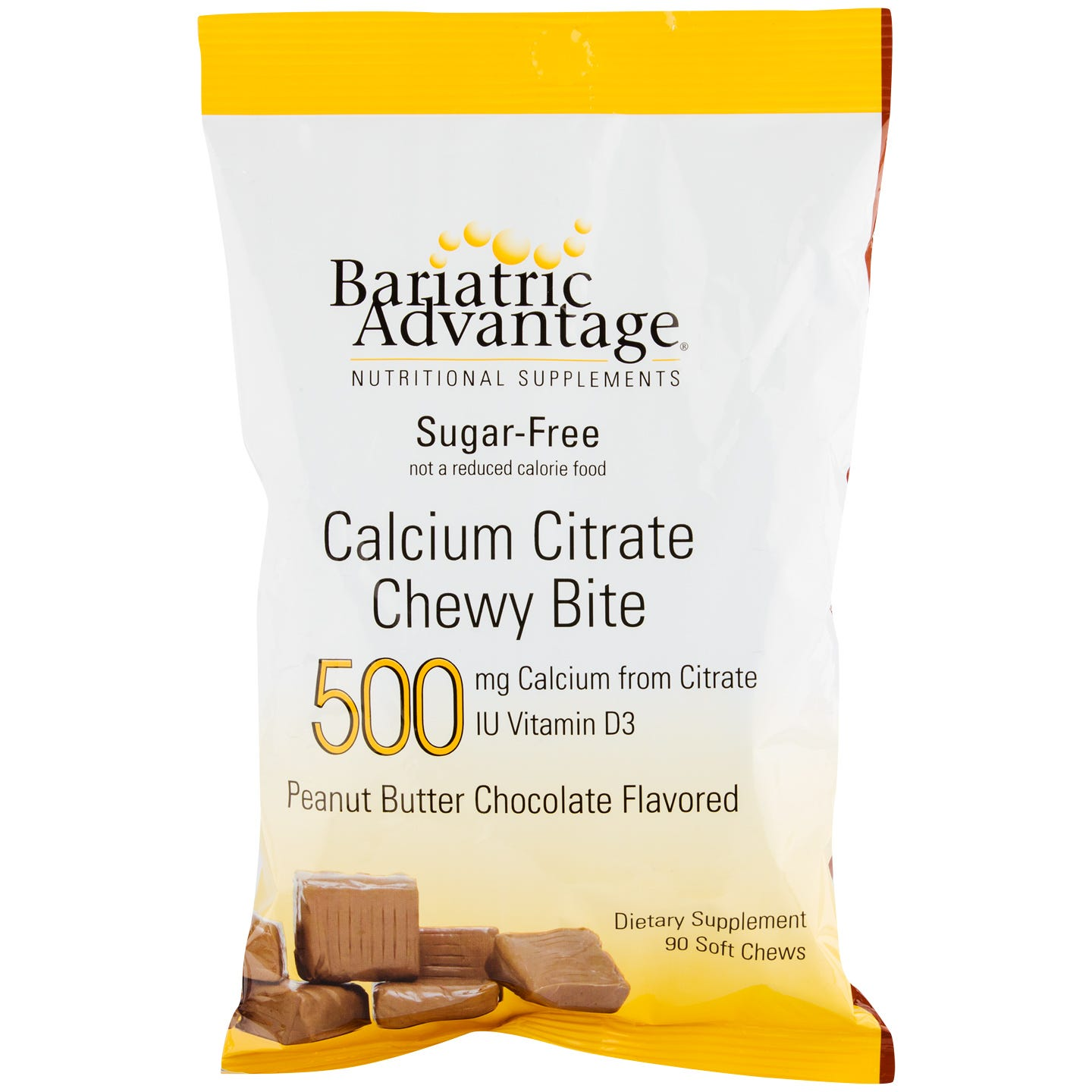 Calcium Citrate Chewy Bites Peanut Butter Chocolate 500 mg (90 ct) - Bariatric Advantage - Rapid Diet Weight Loss Products Shop