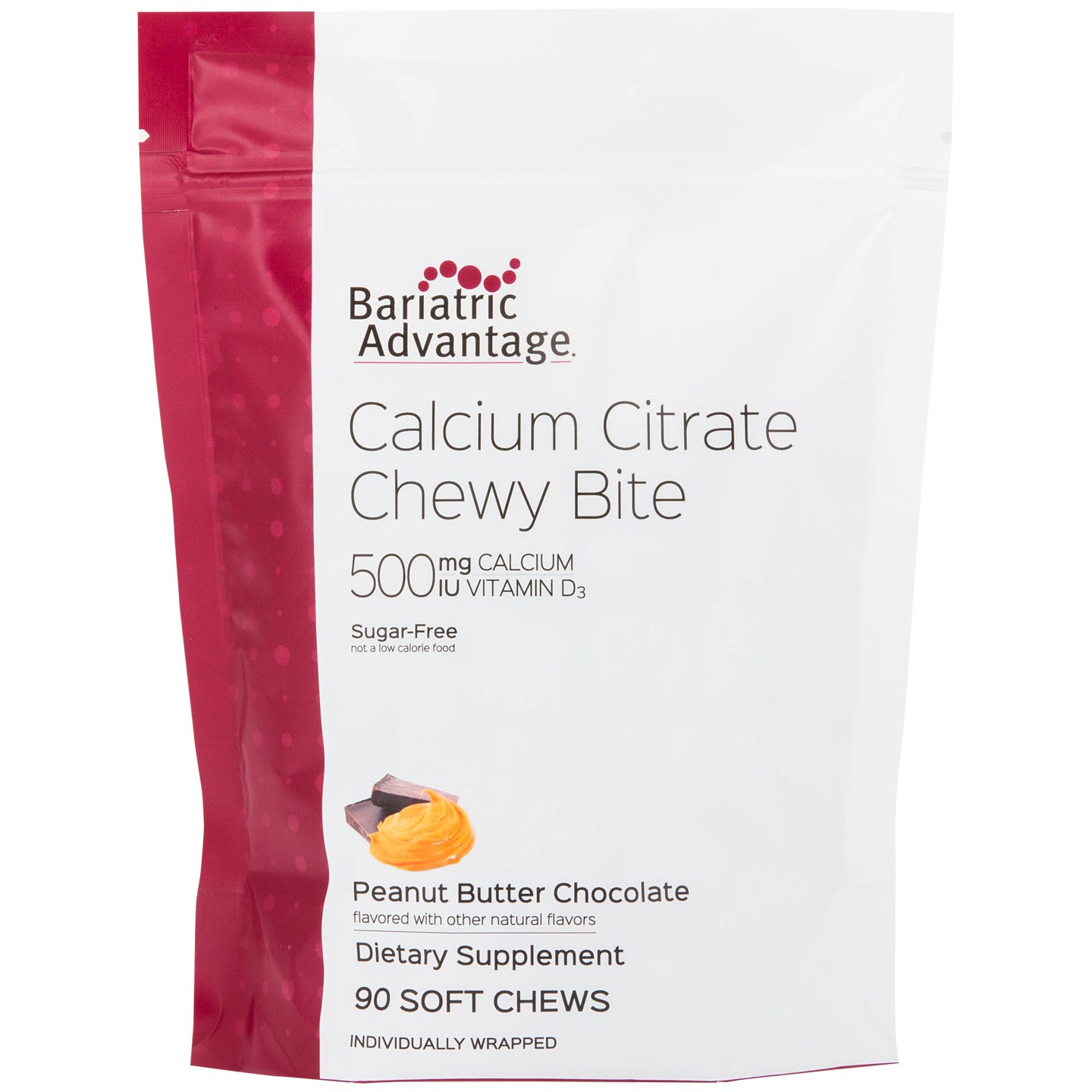 Bariatric Advantage 500mg Calcium Citrate Chewy Bites, Peanut Butter Chocolate (90ct)
