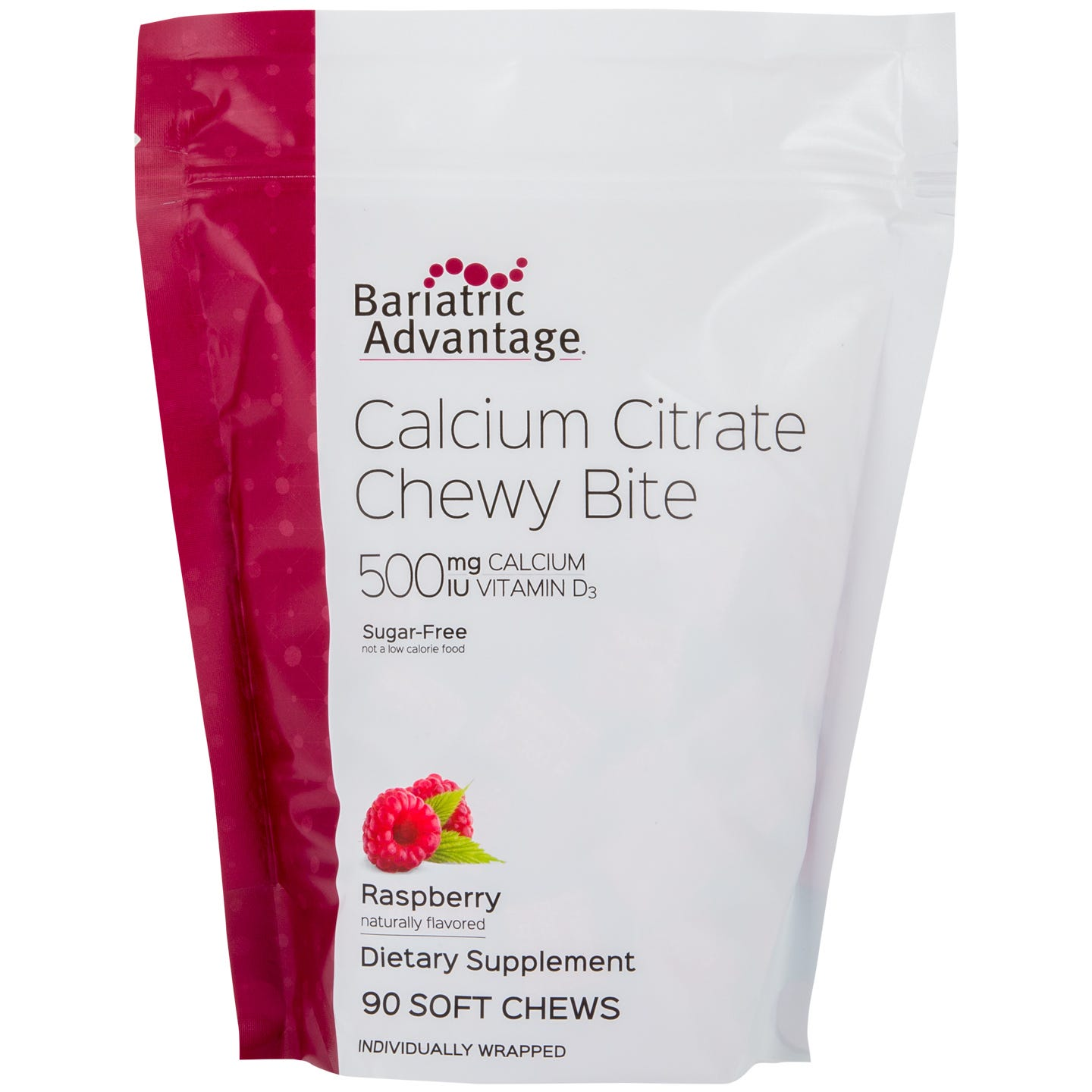picture of Bariatric Advantage 500mg Calcium Citrate Chewy Bites, Raspberry (90ct)