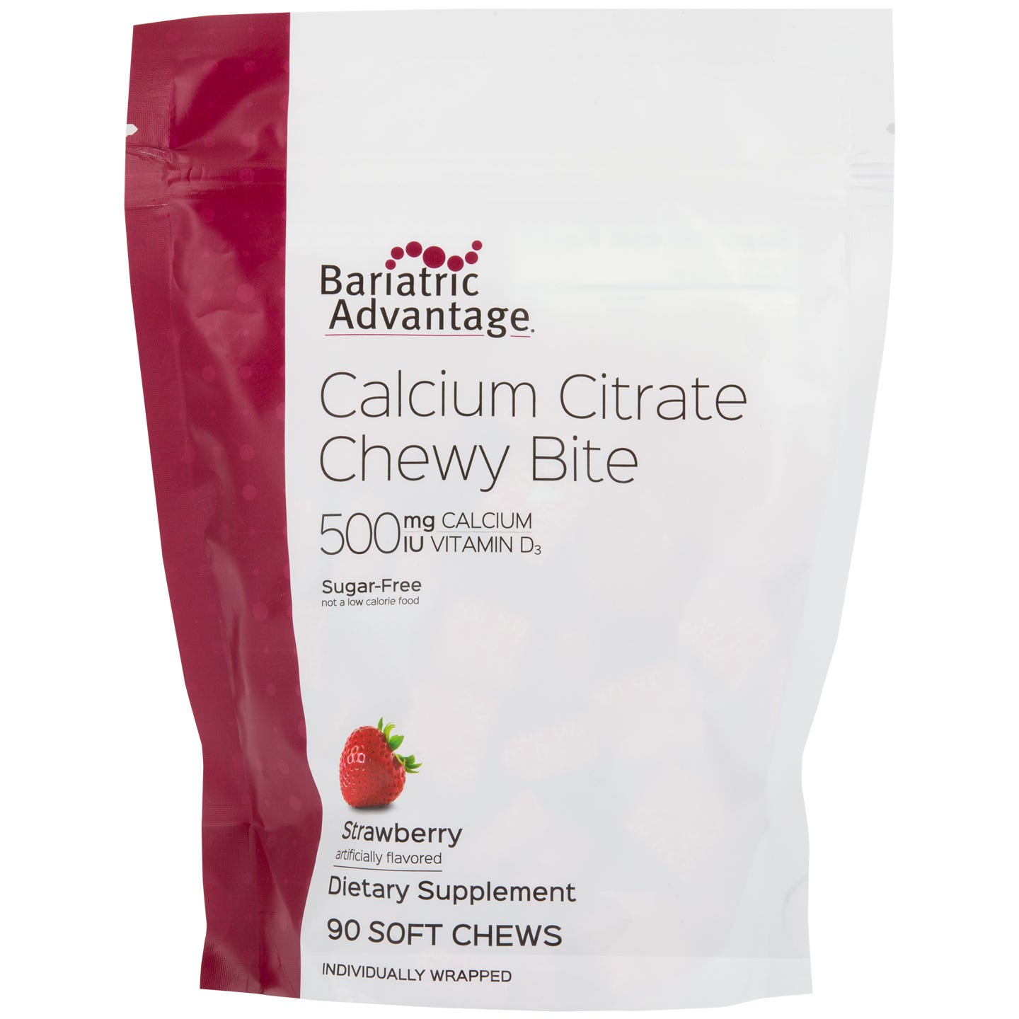 Bariatric Advantage 500mg Calcium Citrate Chewy Bites, Strawberry (90ct)