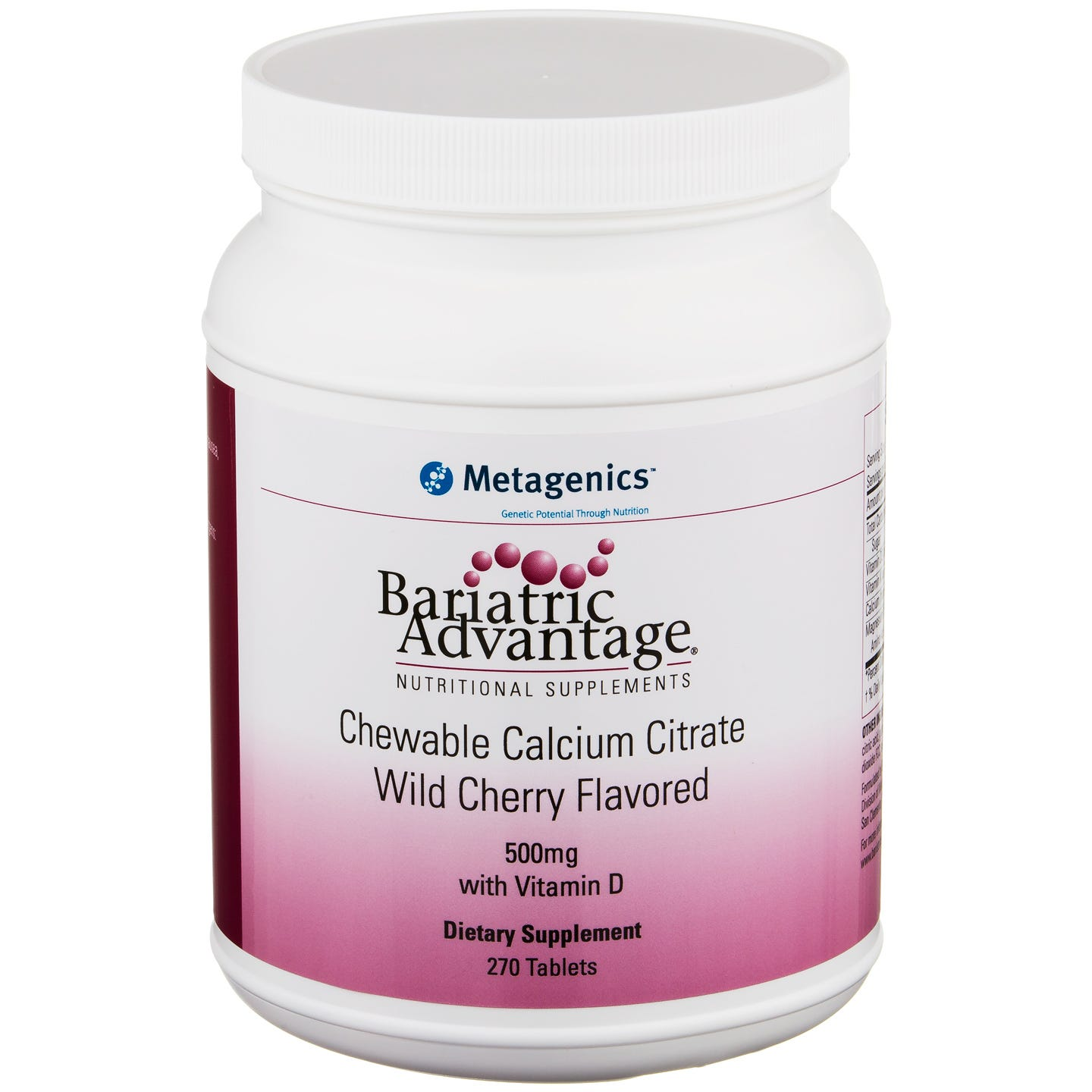 Calcium Citrate Chewable Wild Cherry 500 mg (270 ct) - Bariatric Advantage - Rapid Diet Weight Loss Products Shop