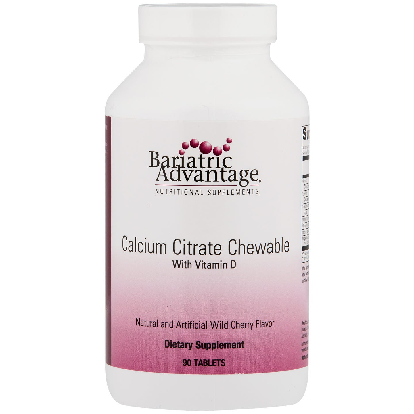Calcium Citrate Wild Cherry 500 mg (90 ct) - Bariatric Advantage - Rapid Diet Weight Loss Products Shop