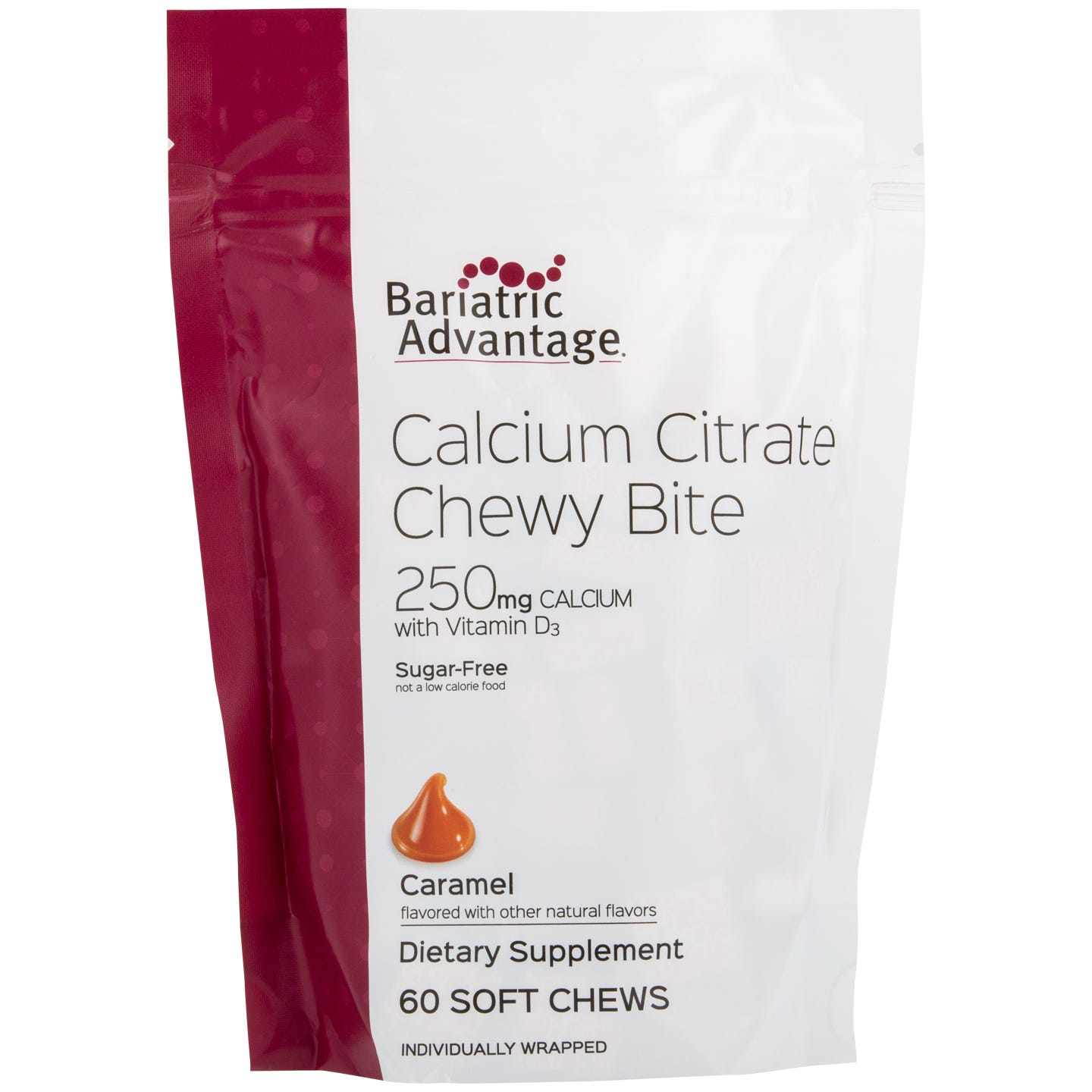 Bariatric Advantage 250mg Calcium Citrate Chewy Bites, Caramel (60ct)