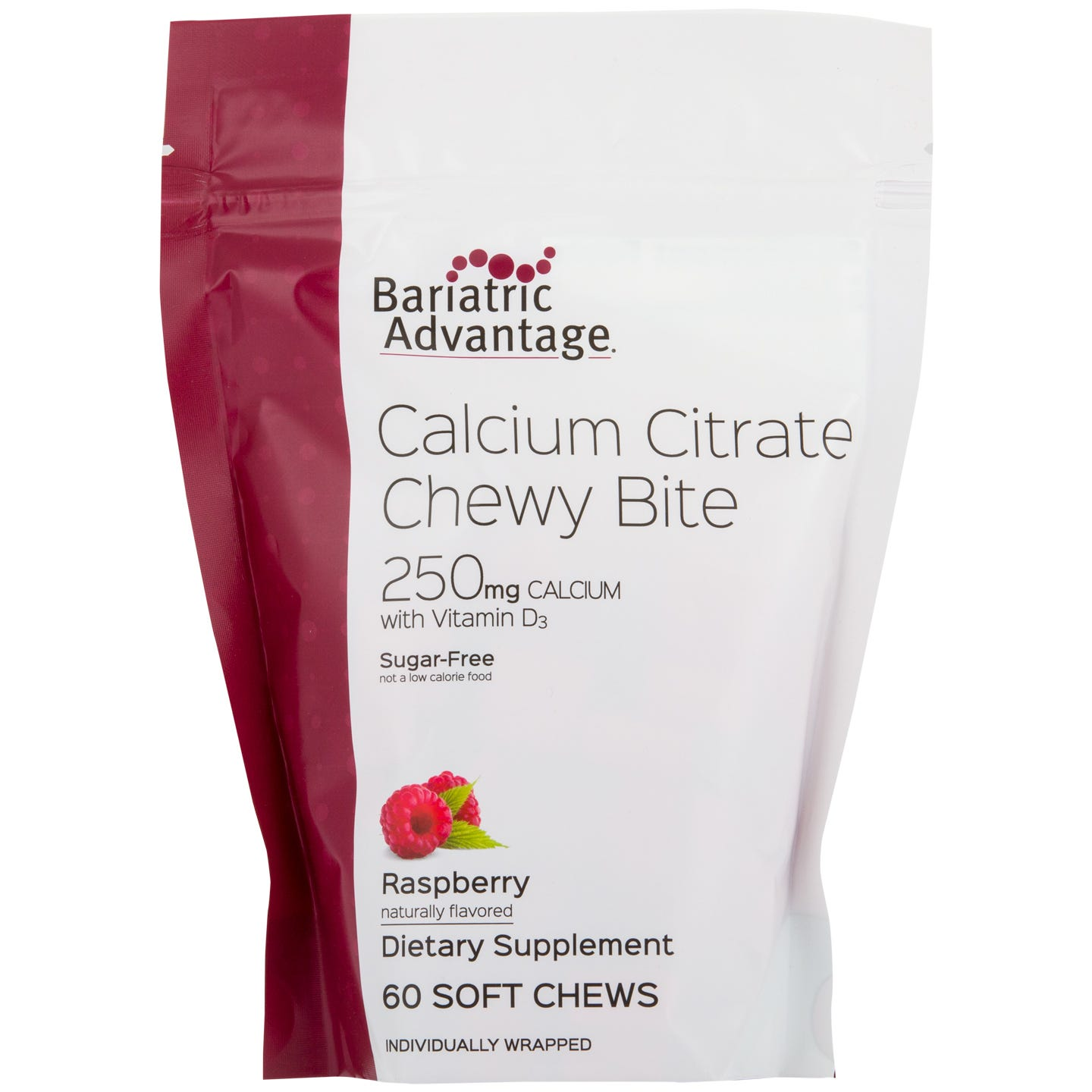 Calcium Citrate Chewy Bites Raspberry 250 mg (60 ct) – Bariatric Advantage