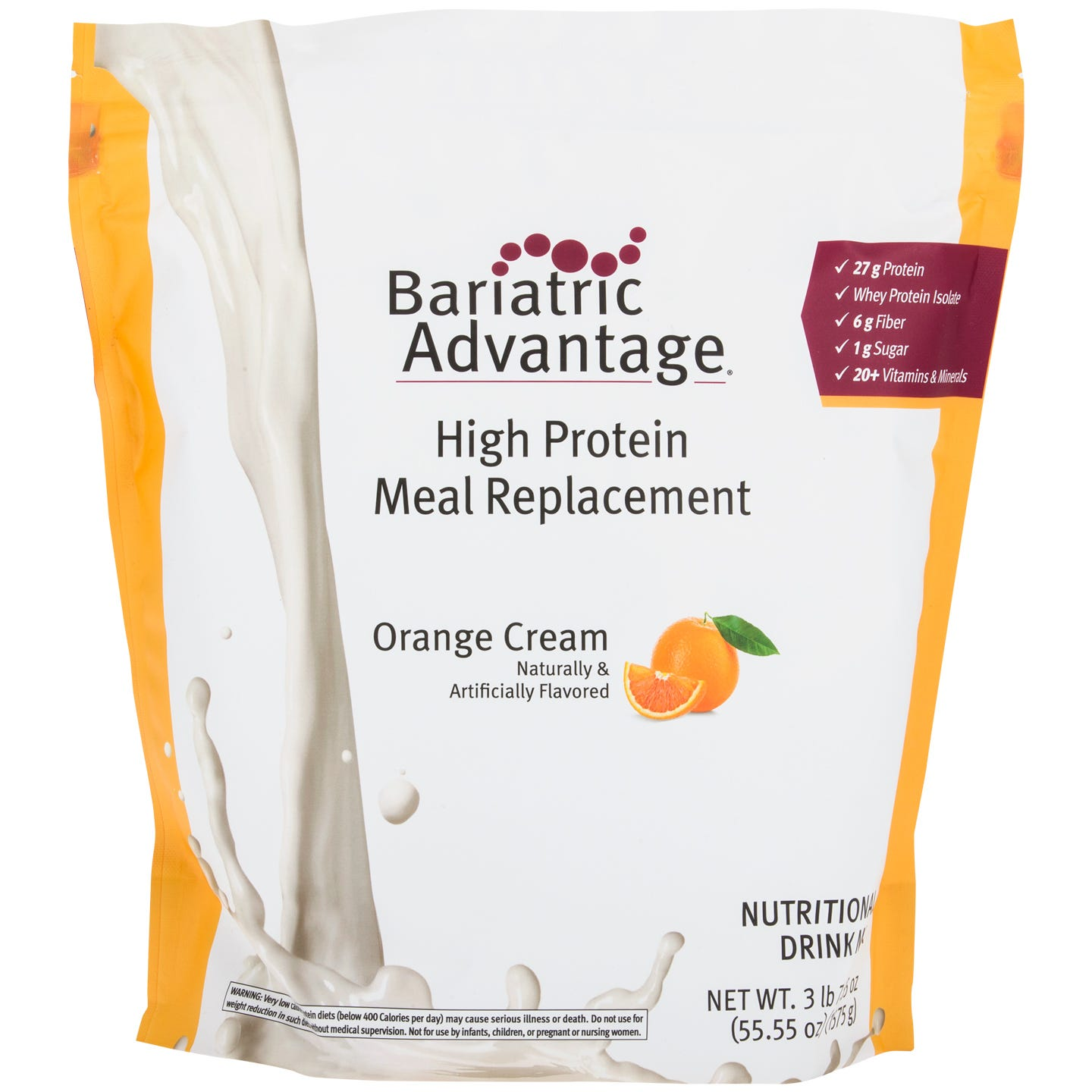High Protein Meal Replacement Shakes Orange Cream 35 Servings – Bariatric Advantage