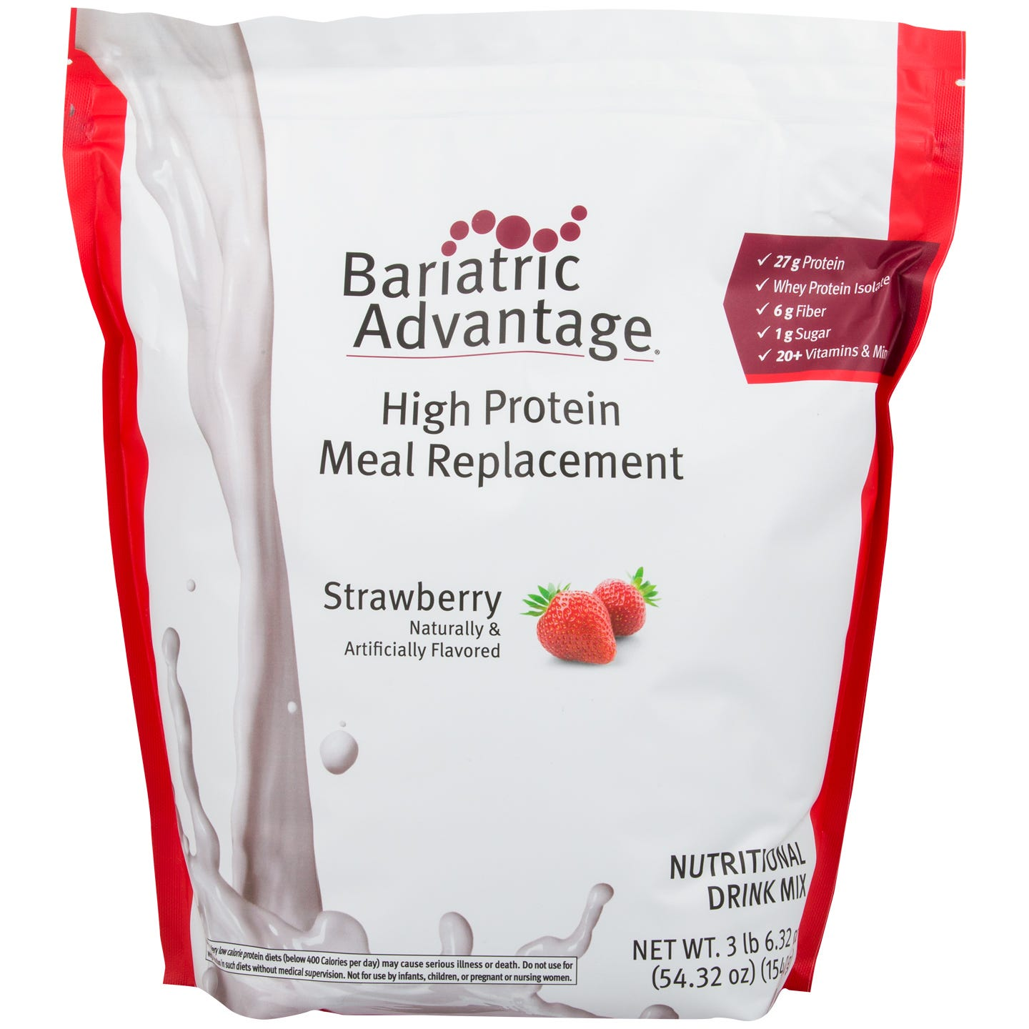 High Protein Meal Replacement Shakes Strawberry 35 Servings – Bariatric Advantage