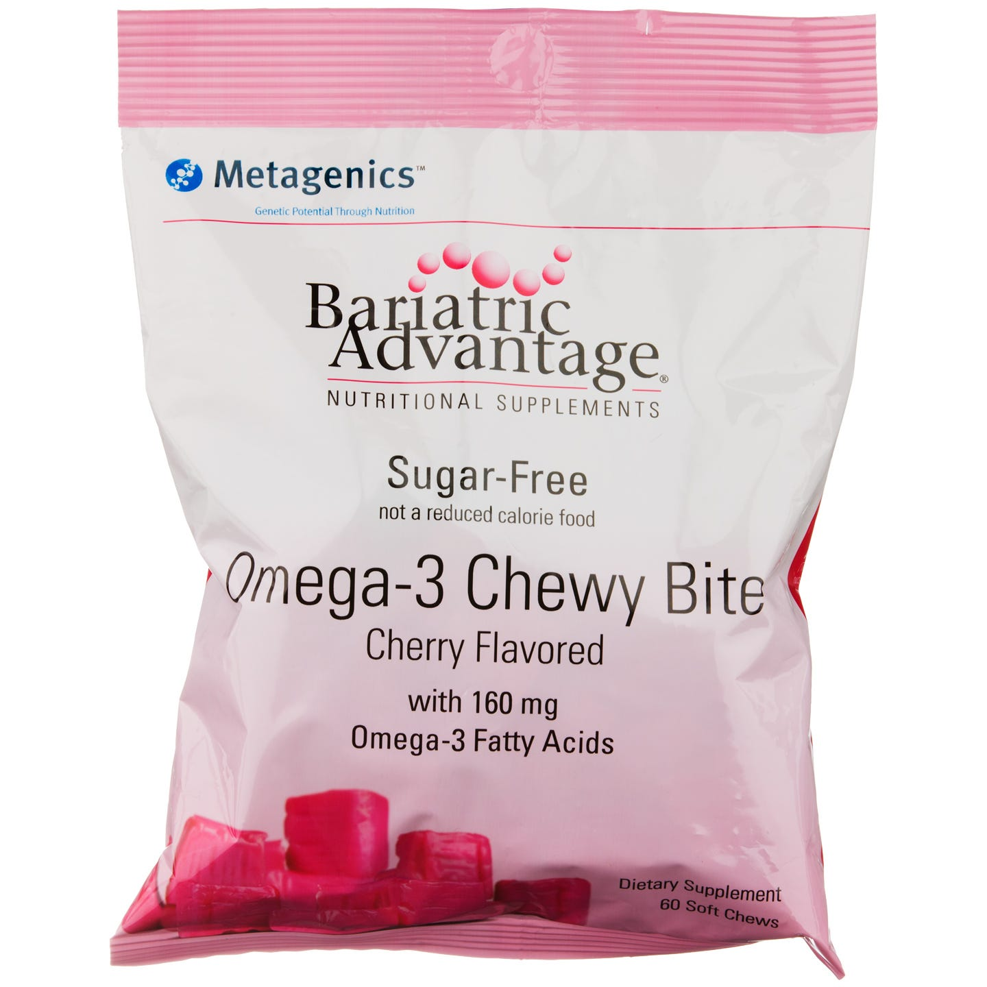 Omega-3 Chewy Bites Cherry (60 ct) - Bariatric Advantage - Rapid Diet Weight Loss Products Shop