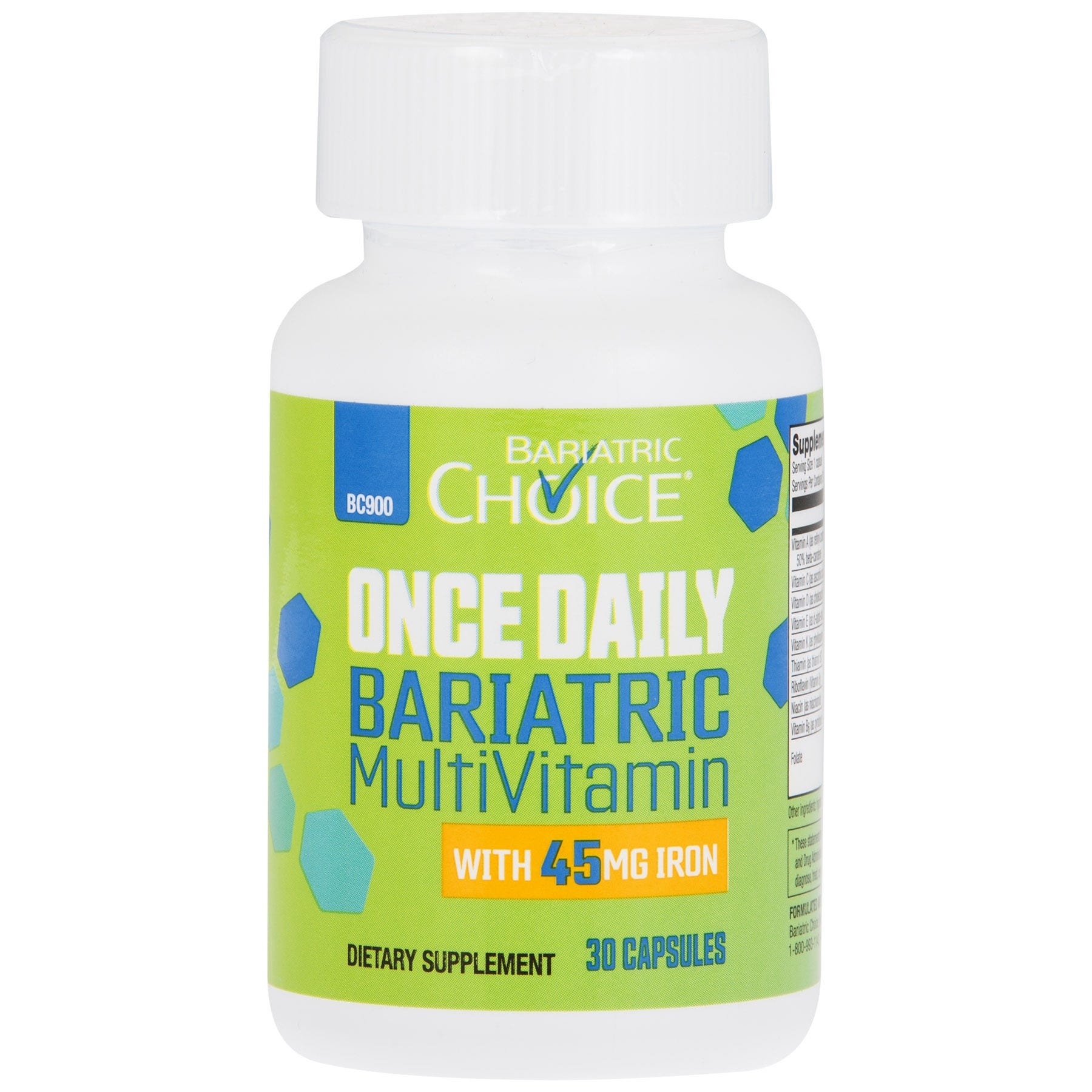 Bariatric Choice ONCE DAILY Bariatric Multivitamin Capsule with 45mg of Iron (30ct)
