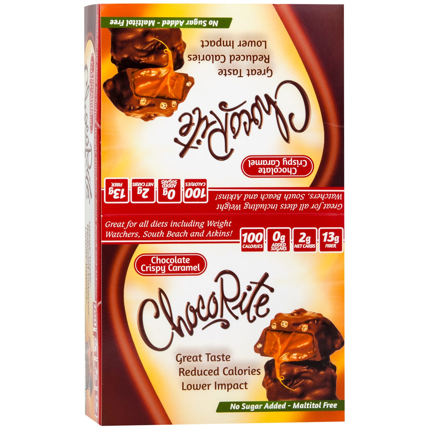 ChocoRite Chocolate Bars Crispy Caramel (16 ct) - HealthSmart Foods - Rapid Diet Weight Loss Products Shop