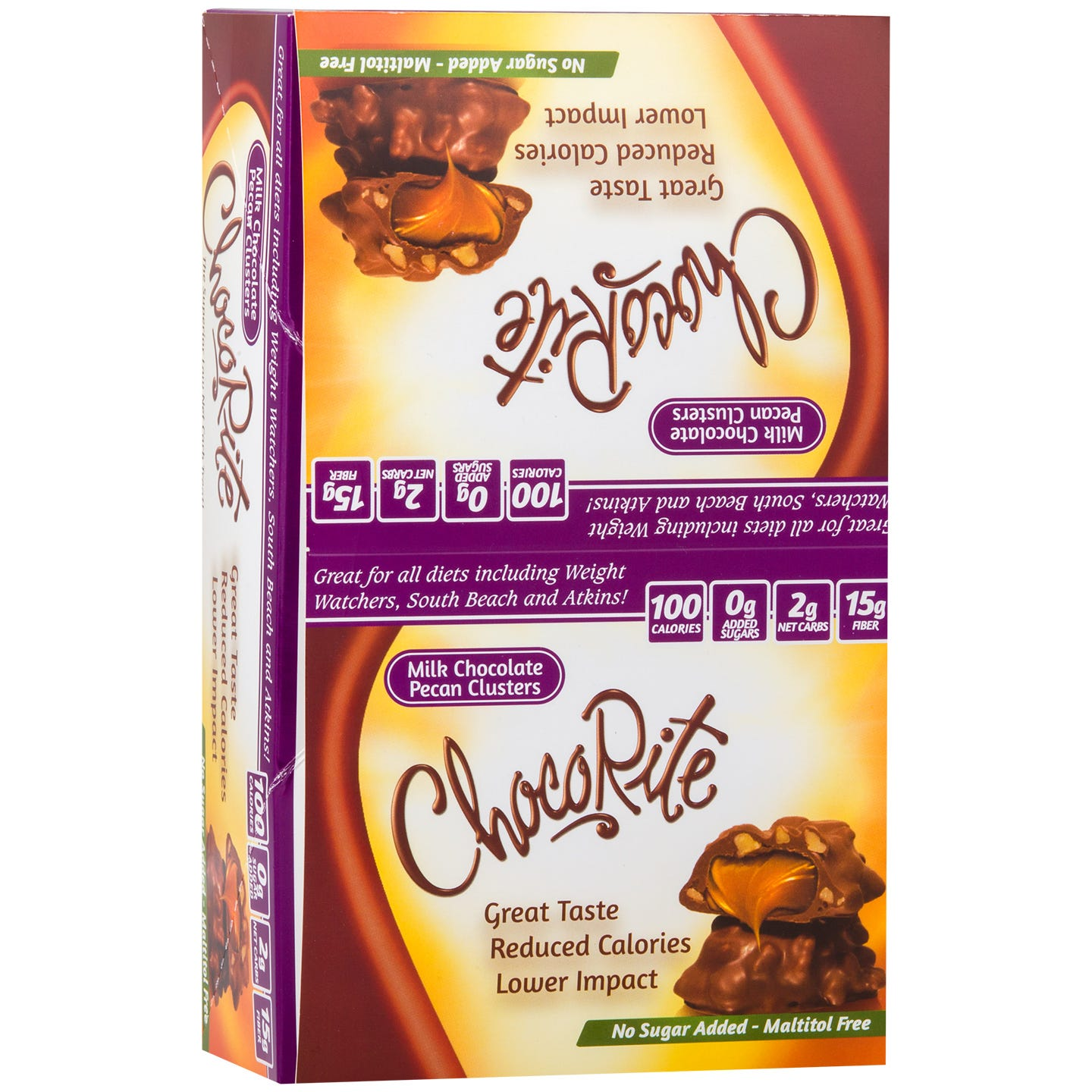 ChocoRite Chocolate Bars Pecan Cluster (16 ct) - HealthSmart Foods - Rapid Diet Weight Loss Products Shop