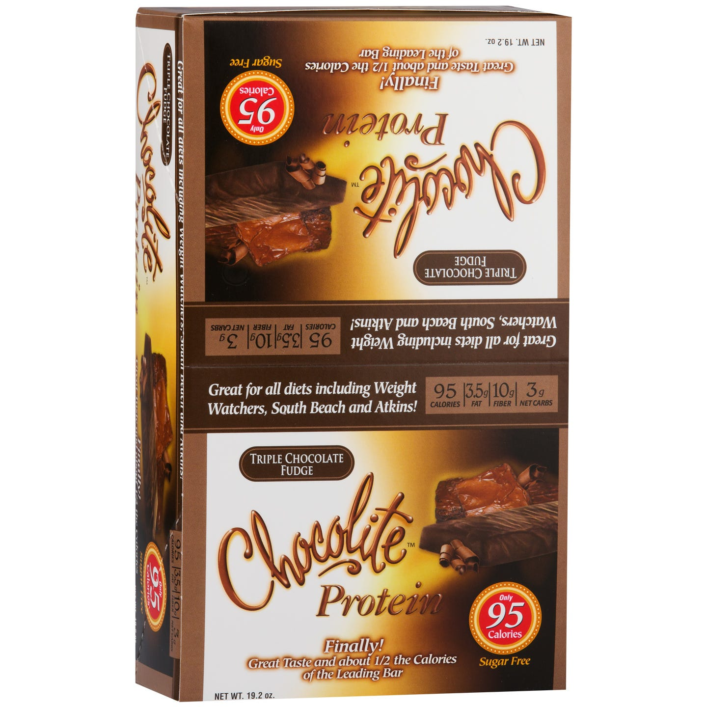 Chocolite Sugar-Free Protein Bars Triple Chocolate Fudge (16 ct) - HealthSmart Foods - Rapid Diet Weight Loss Products Shop