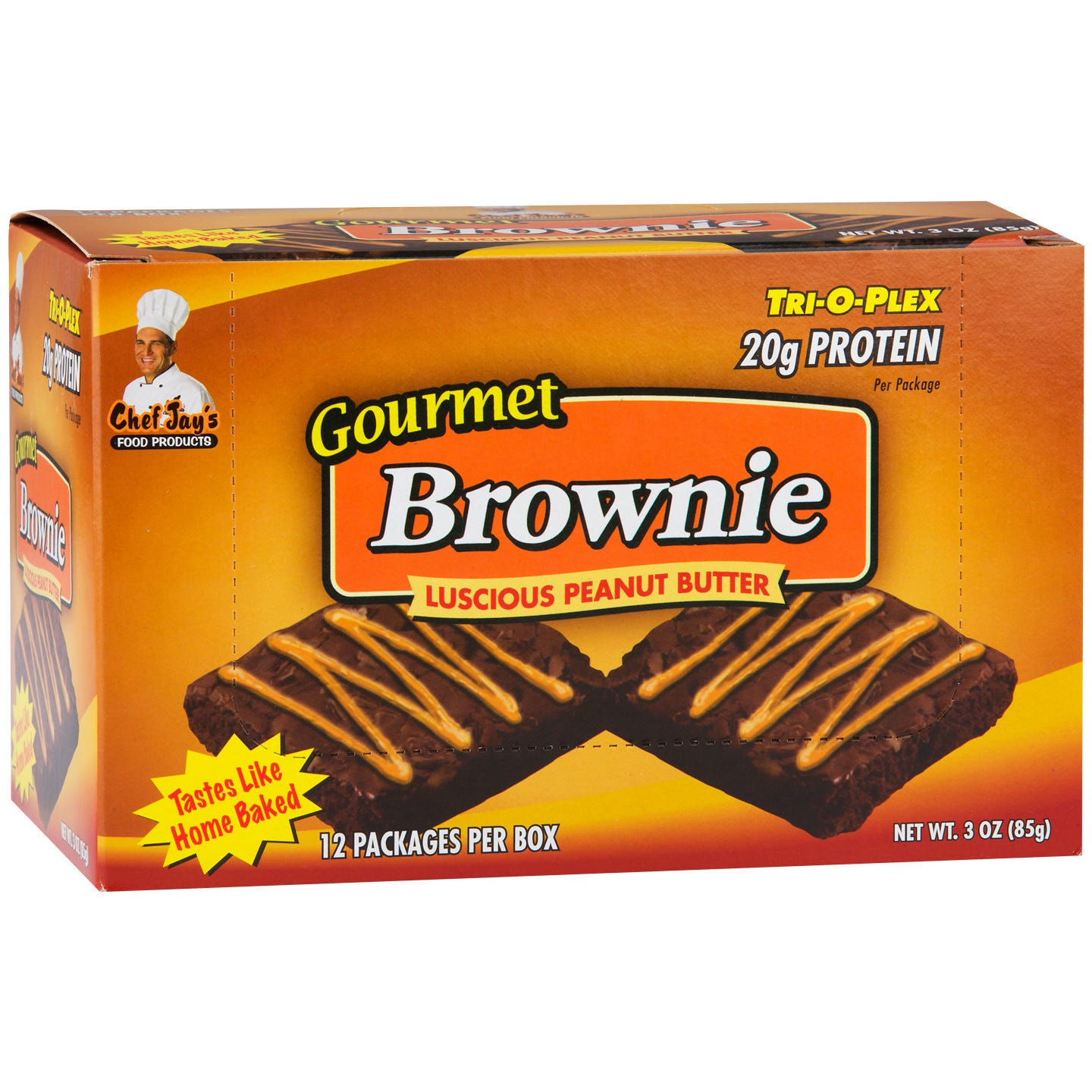 Gourmet Protein Brownie Luscious Peanut Butter (12 ct) - Tri-O-Plex by Chef Jay's - Rapid Diet Weight Loss Products Shop