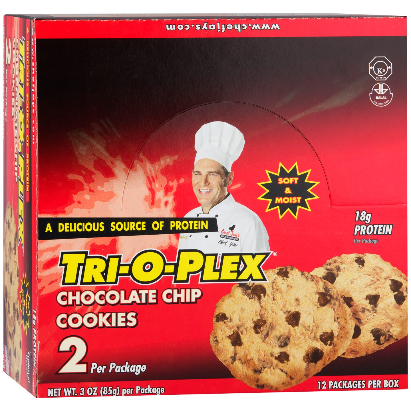 Protein Cookies Chocolate Chip (12 ct) - Tri-O-Plex by Chef Jay's - Rapid Diet Weight Loss Products Shop