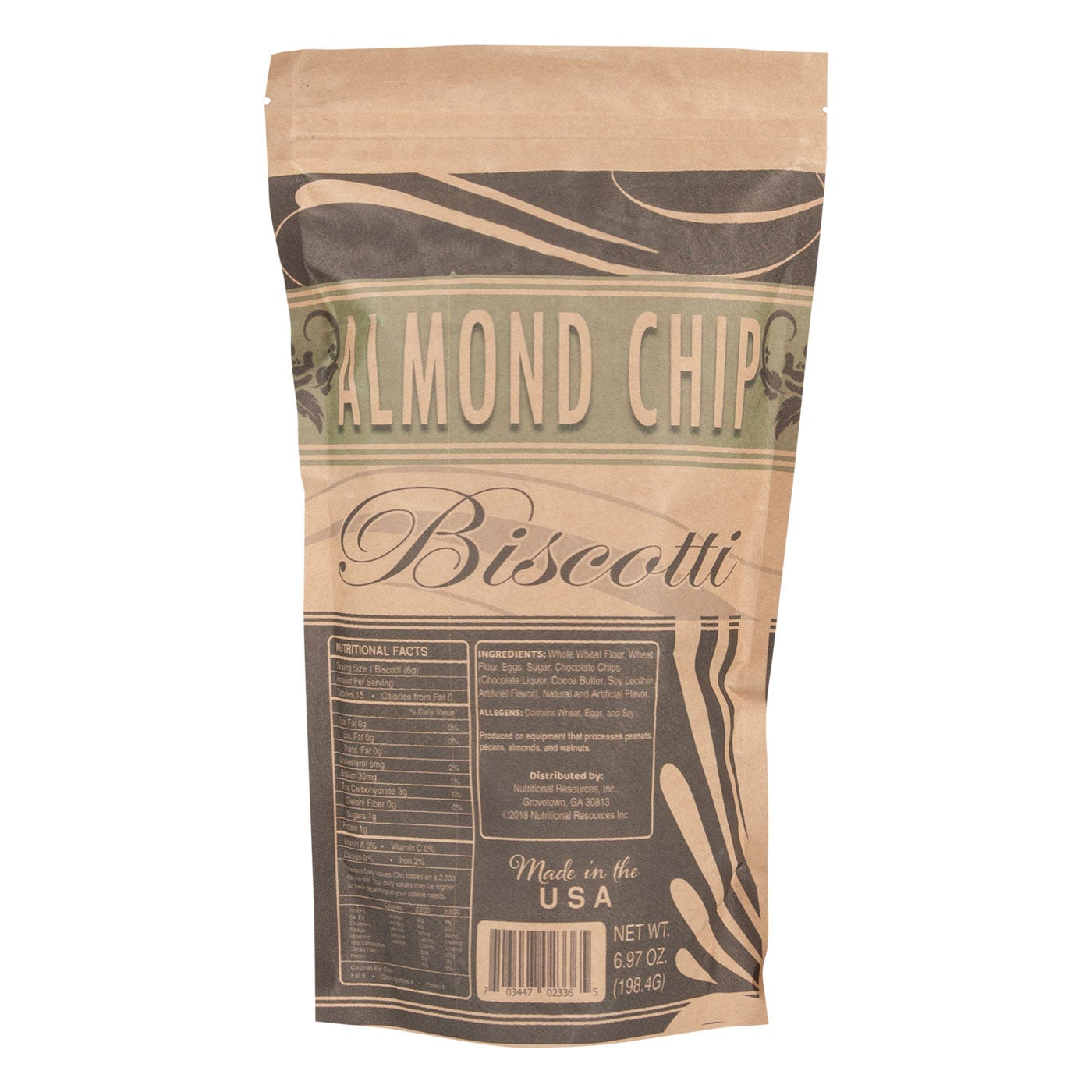 Fat-Free Biscotti Almond Chip 7 Oz Bag - BariWise