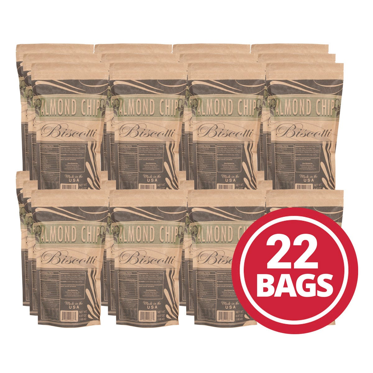 Fat-Free Biscotti Case Almond Chip (22 Ct) - BariWise