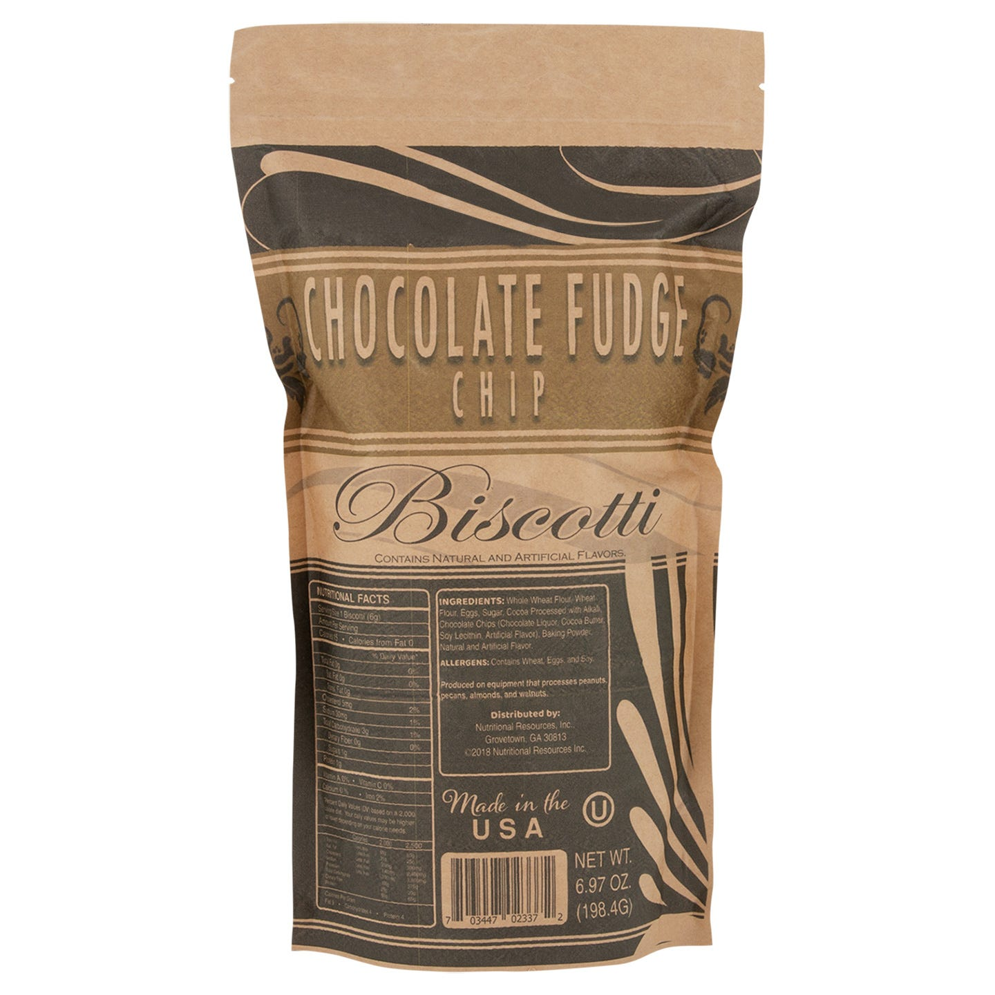 Fat-Free Biscotti Chocolate Fudge Chip 7 Oz Bag - BariWise