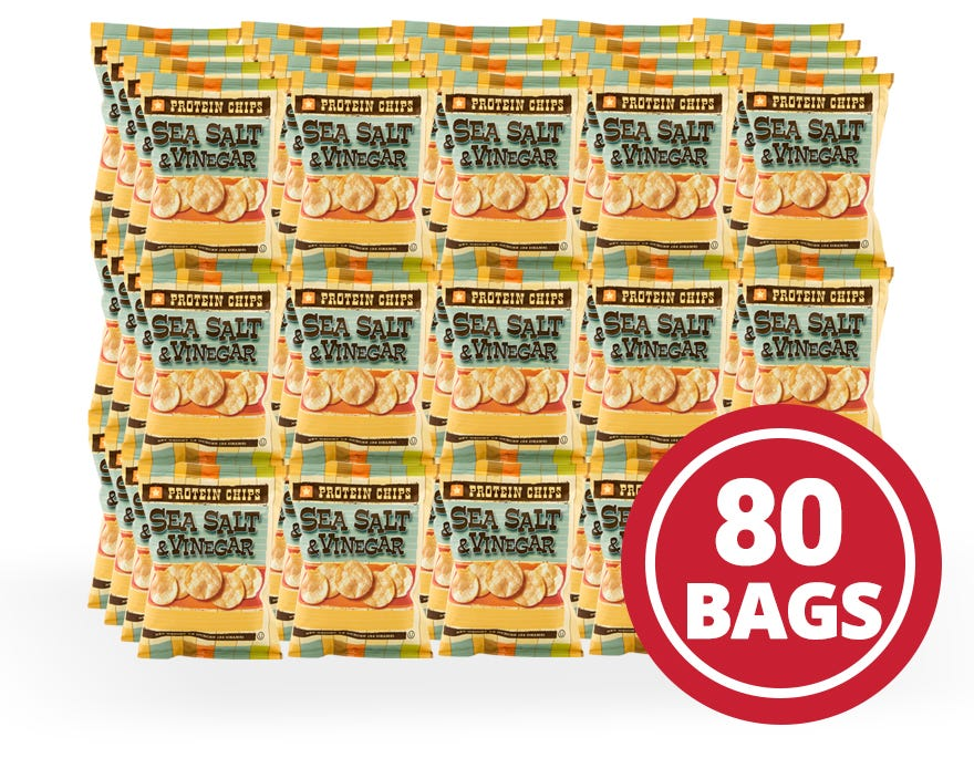 Protein Potato Chips Case Sea Salt and Vinegar (80 Ct) - BariWise