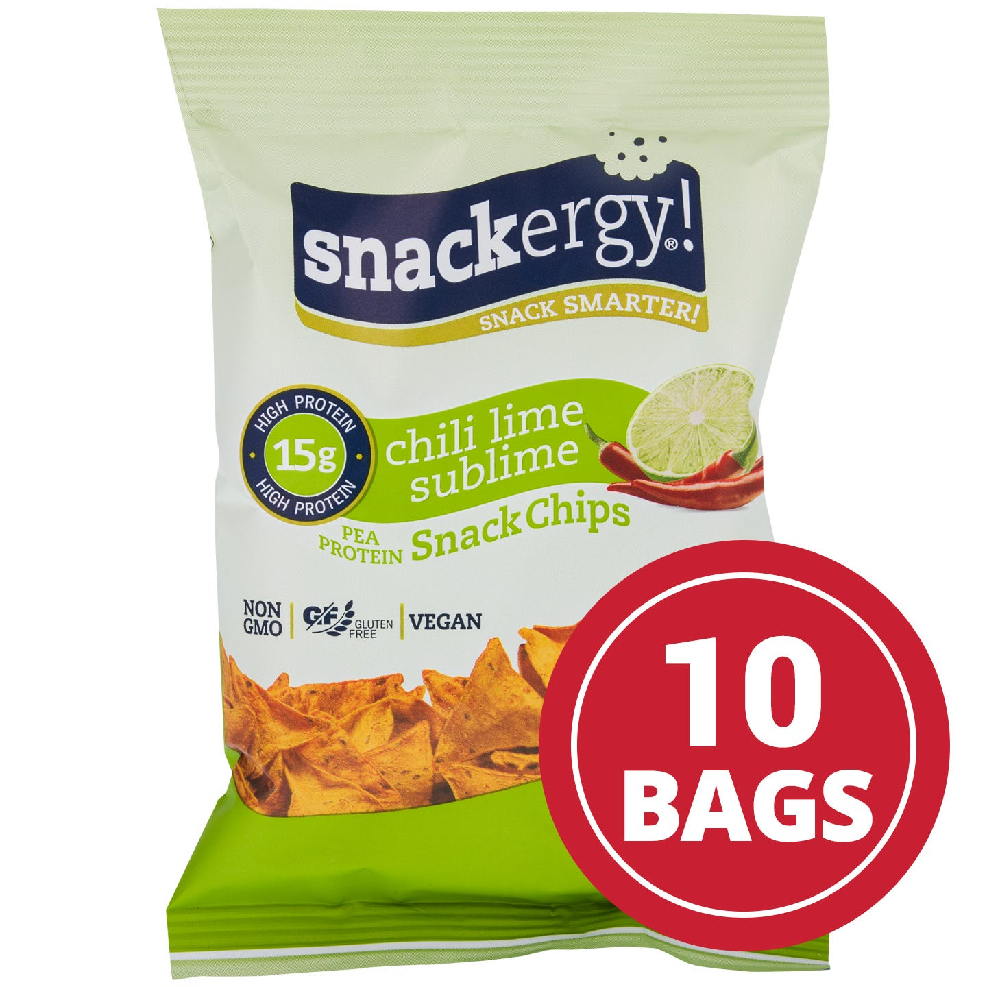 Snackergy and  Vegan Pea Protein Snack Chips  Chili Lime Sublime  1 Oz. (10 Ct)