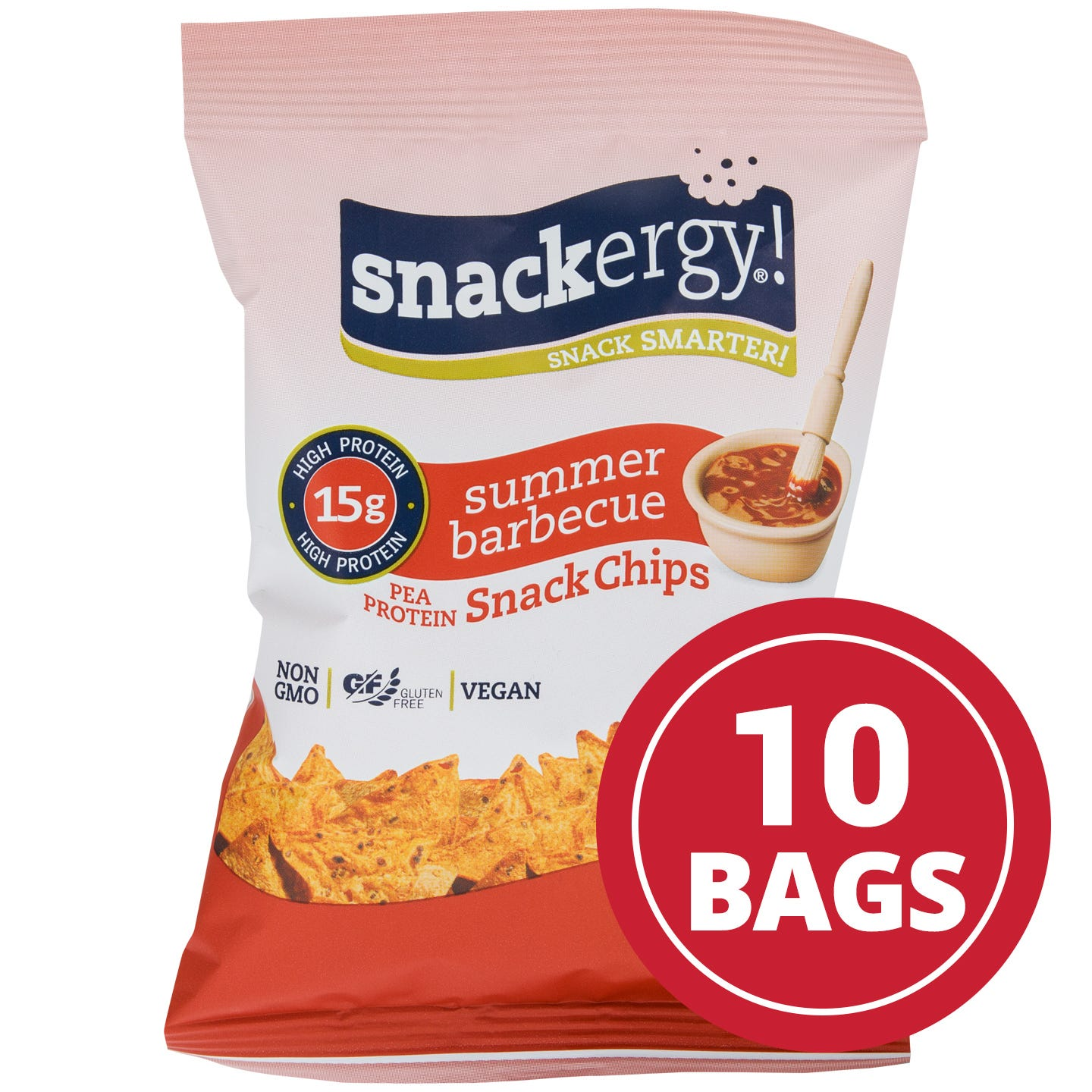 Snackergy and  Vegan Pea Protein Snack Chips  Summer Barbecue  1 Oz. (10 Ct)