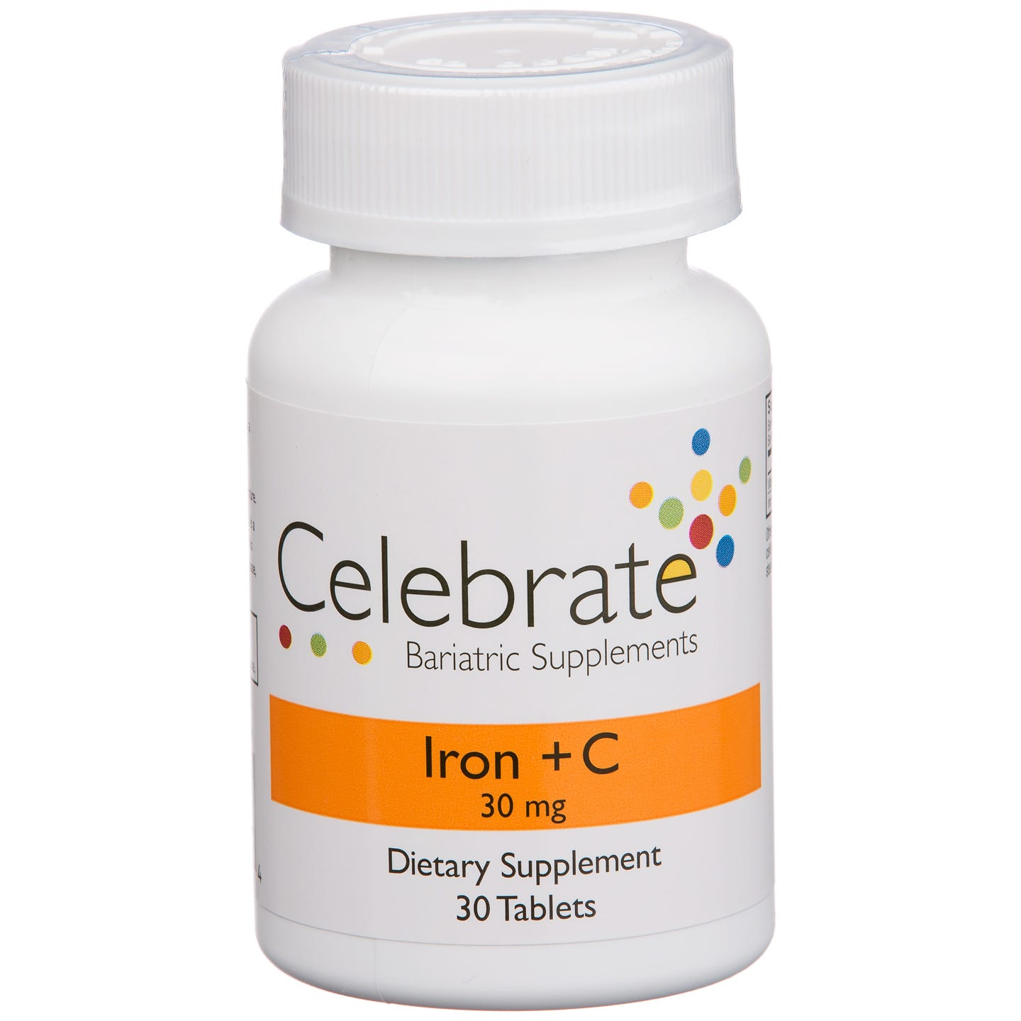 Celebrate Vitamins Iron+C 30 mg Tablet 30 Tablets Per Bottle (30 Day Supply) Gastric Bypass / Sleeve Gastrectomy One of the most common side effects of weight loss surgery is an iron deficiency. To reduce that possibility and to ensure your health, Celebrate has formulated one of the most effective iron products available. Carefully selecting the most bioavailable forms of iron and then coupling them with additional benefits they have developed an iron