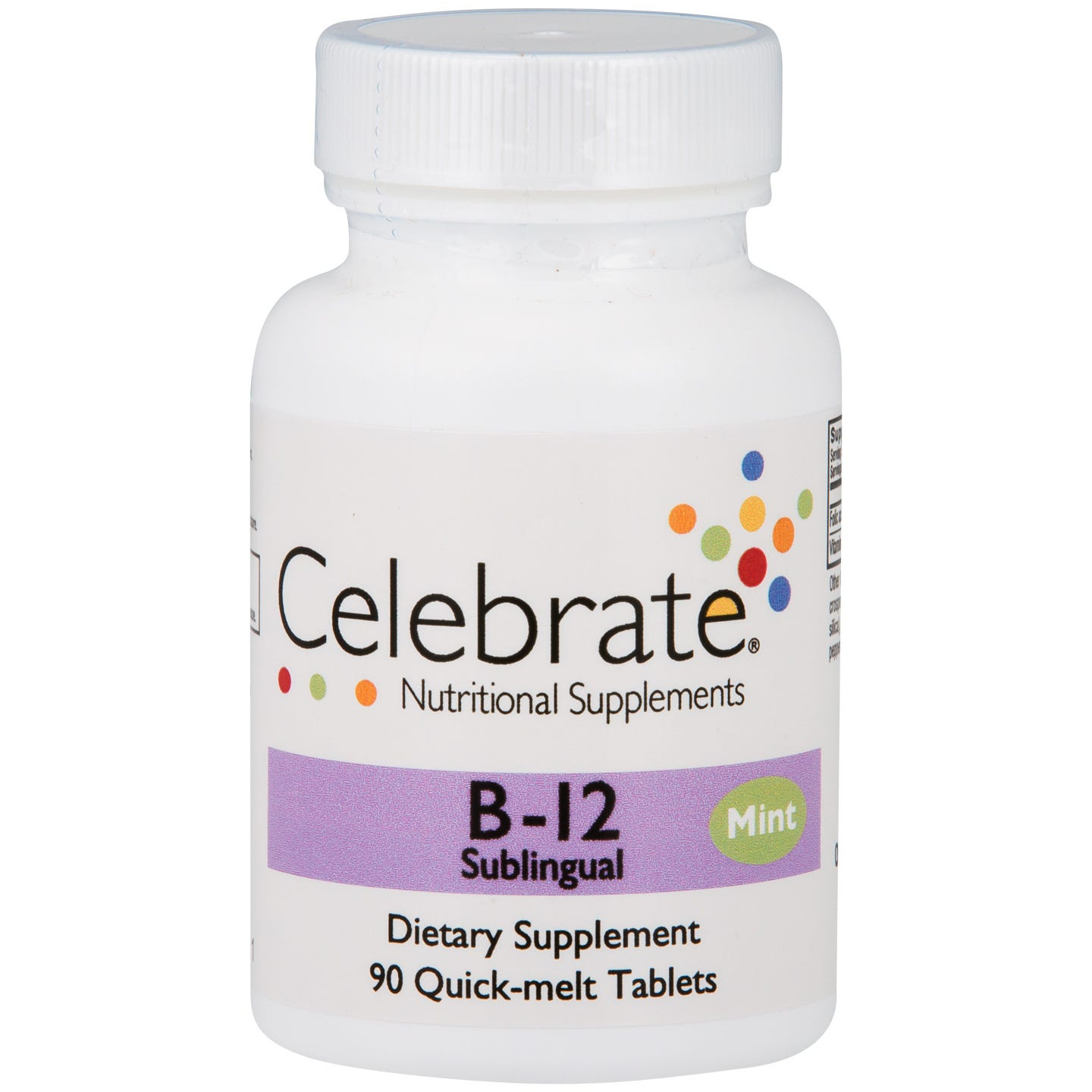 B12 Sublingual Mint (90 ct) - Celebrate - Rapid Diet Weight Loss Products Shop