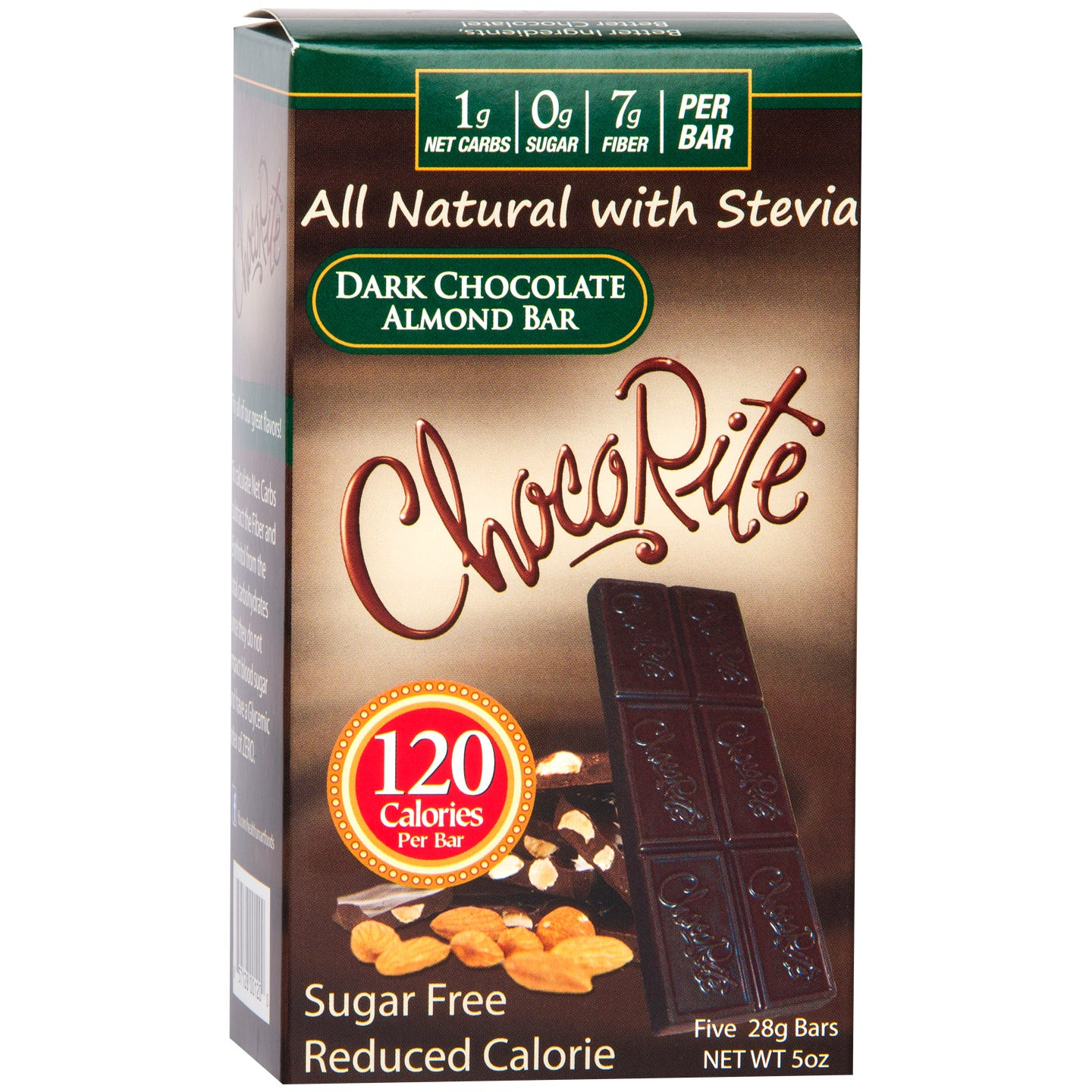 Natural Bar Dark Chocolate Almond (5 ct) - ChocoRite - Rapid Diet Weight Loss Products Shop