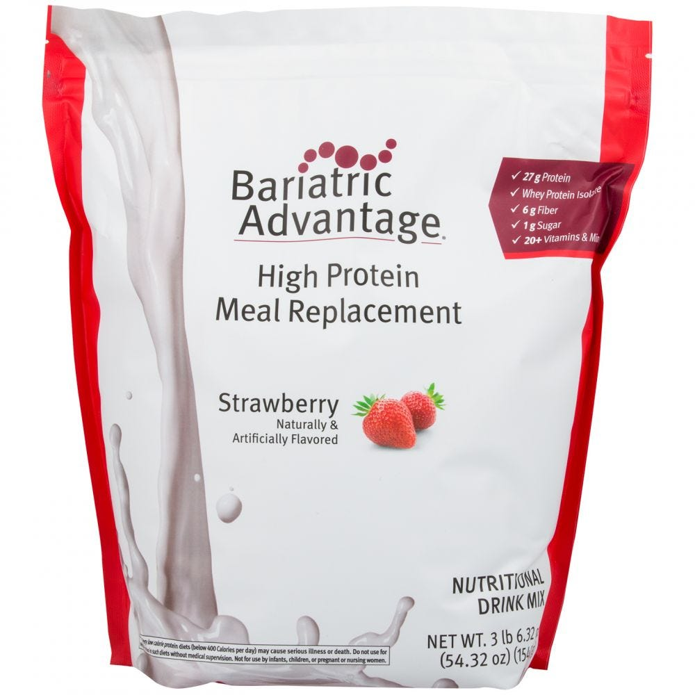 High Protein Meal Replacement Shakes Strawberry 35 Servings - Bariatric Advantage