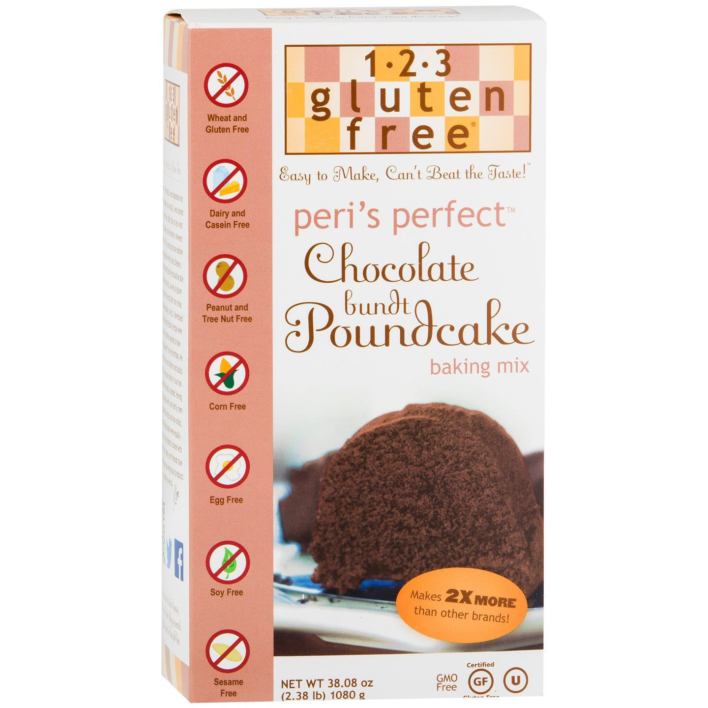 Gluten Free Bundt Poundcake Mix, Peri's Perfect Chocolate 38.08 oz - 123 Gluten Free - Rapid Diet Weight Loss Products Shop