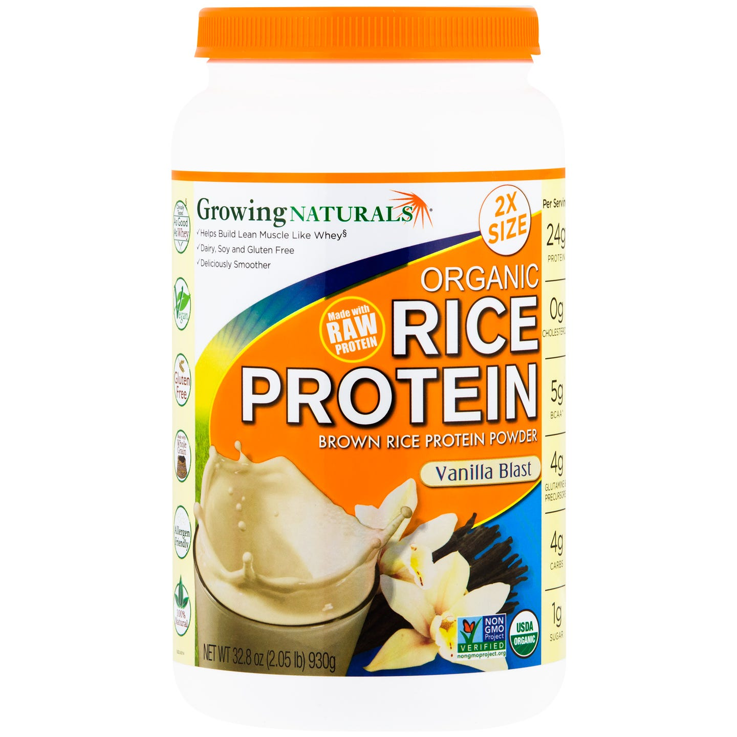 Organic Rice Protein Vanilla Blast 2.05lb, Growing Naturals - Rapid Diet Weight Loss Products Shop