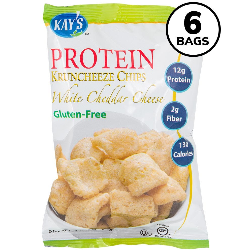 Kay's Protein Kruncheeze Chips, White Cheddar (6ct)
