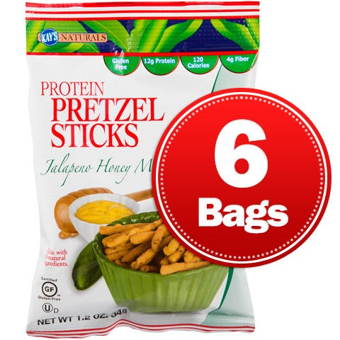 Protein Pretzel Sticks Jalapeno Honey Mustard (6 ct) - Kay's Naturals