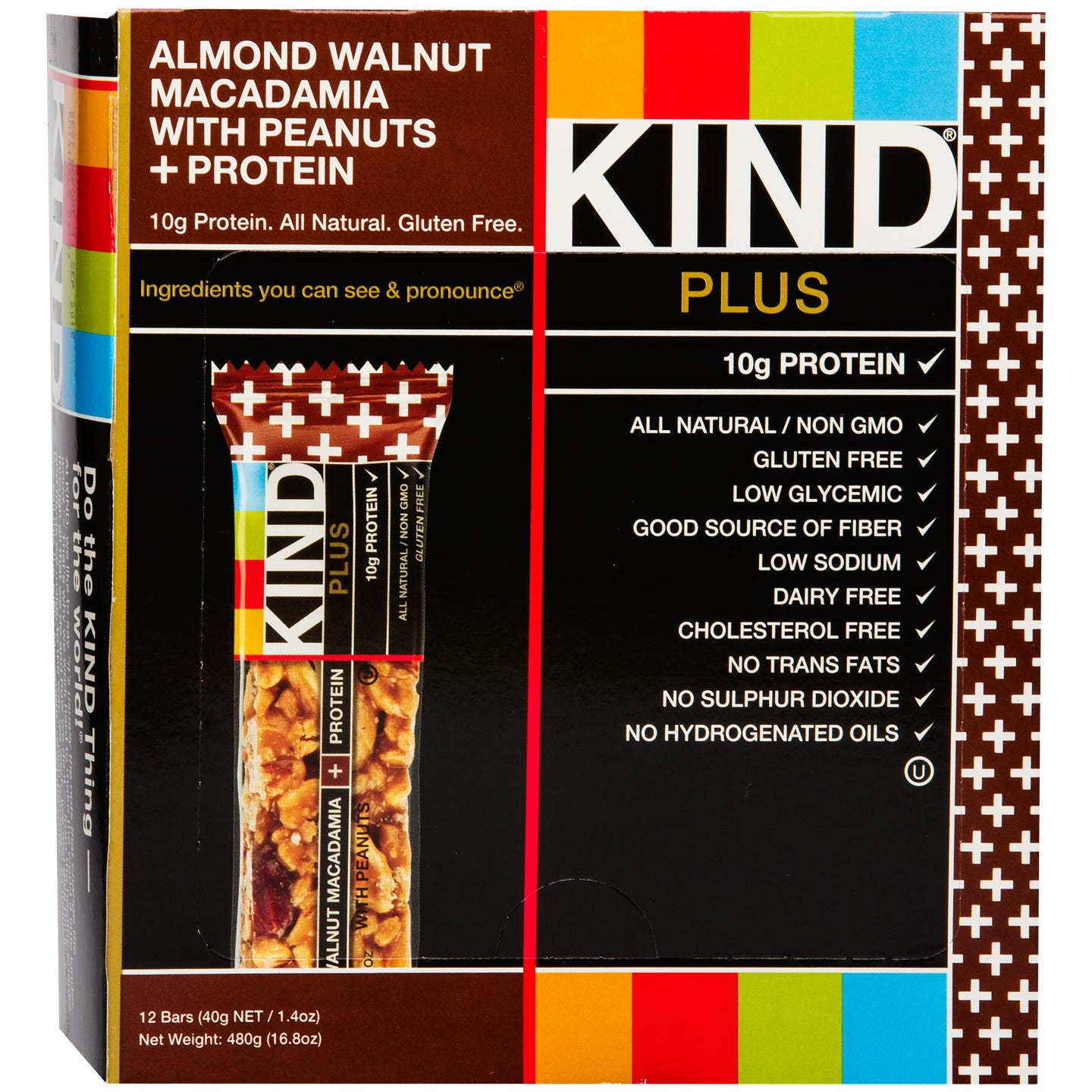 Kind Plus Protein Bars Almond Walnut Macadamia With Peanuts (12 ct) - Rapid Diet Weight Loss Products Shop