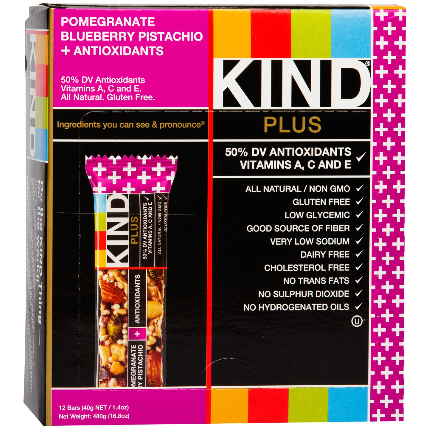 Kind Plus Antioxidants Bar Pomegranate Blueberry Pistachio (12 ct) - Rapid Diet Weight Loss Products Shop