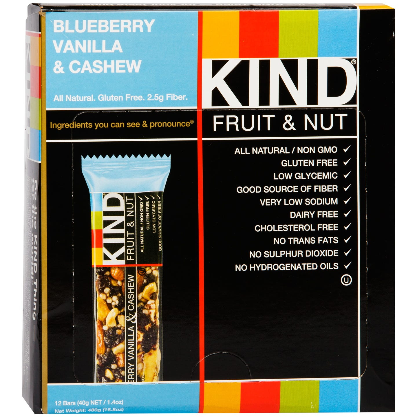 Kind Fruit & Nut Bar Blueberry Vanilla & Cashew (12 ct) - Rapid Diet Weight Loss Products Shop