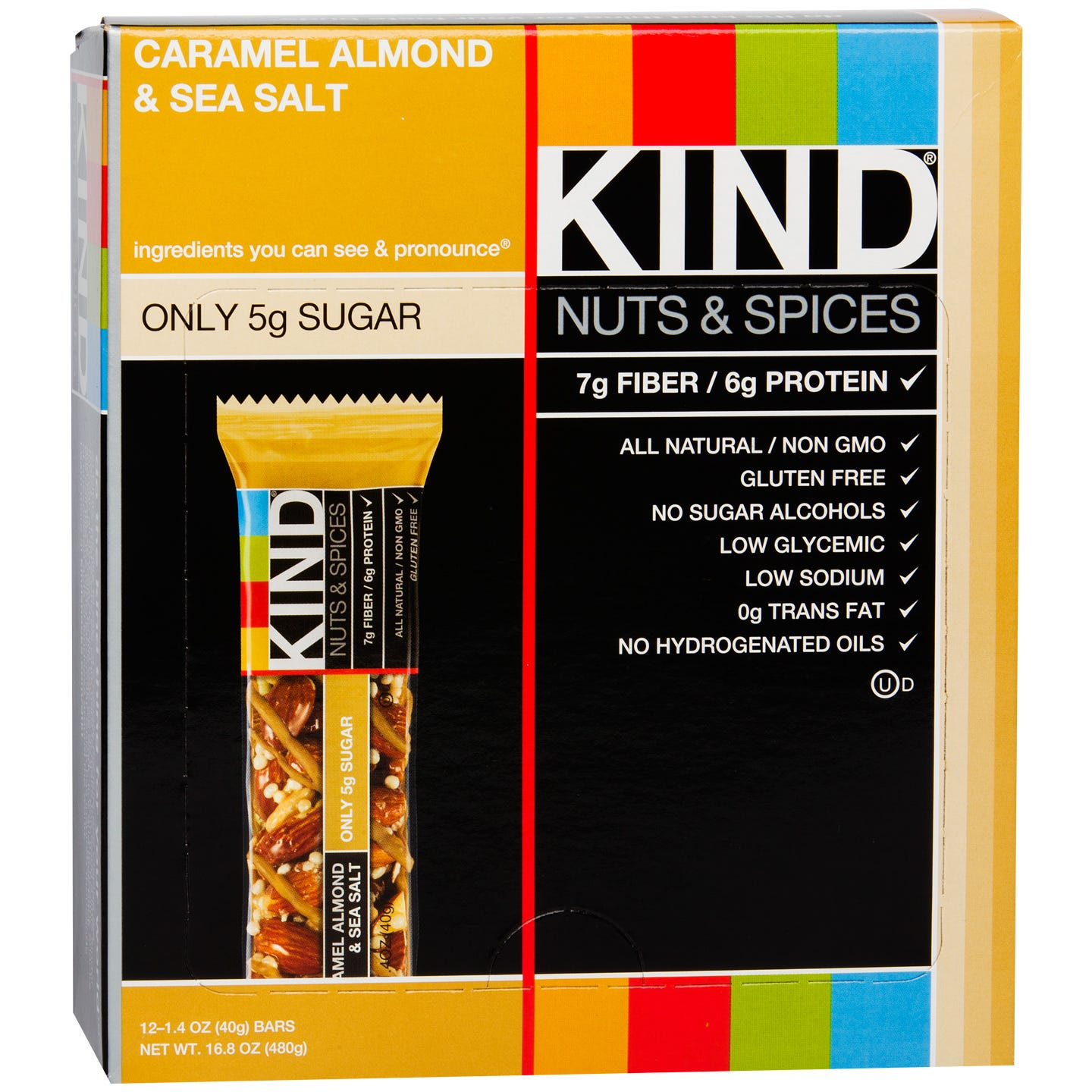 Kind Nuts & Spices Bar Caramel Almond & Sea Salt (12 ct) - Rapid Diet Weight Loss Products Shop