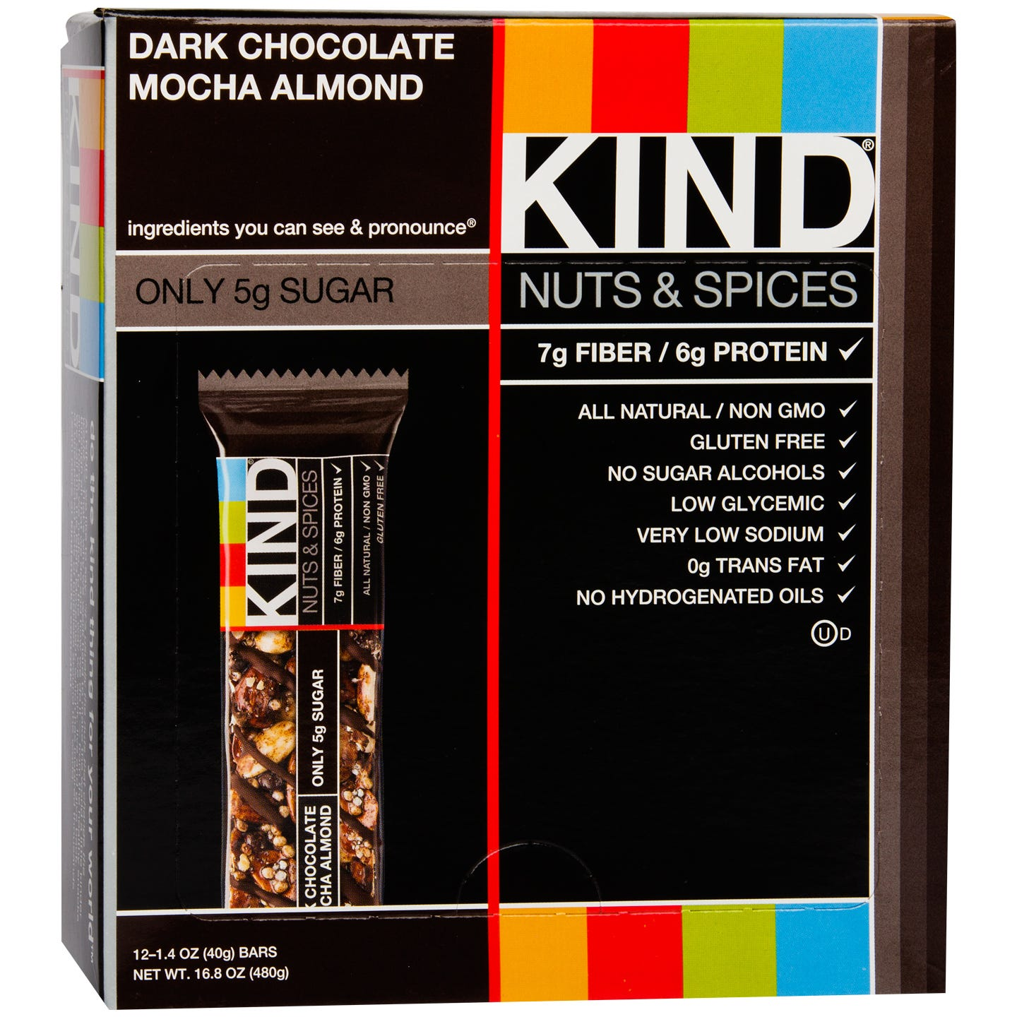 Kind Nuts & Spices Bar Dark Chocolate Mocha Almond (12 ct) - Rapid Diet Weight Loss Products Shop