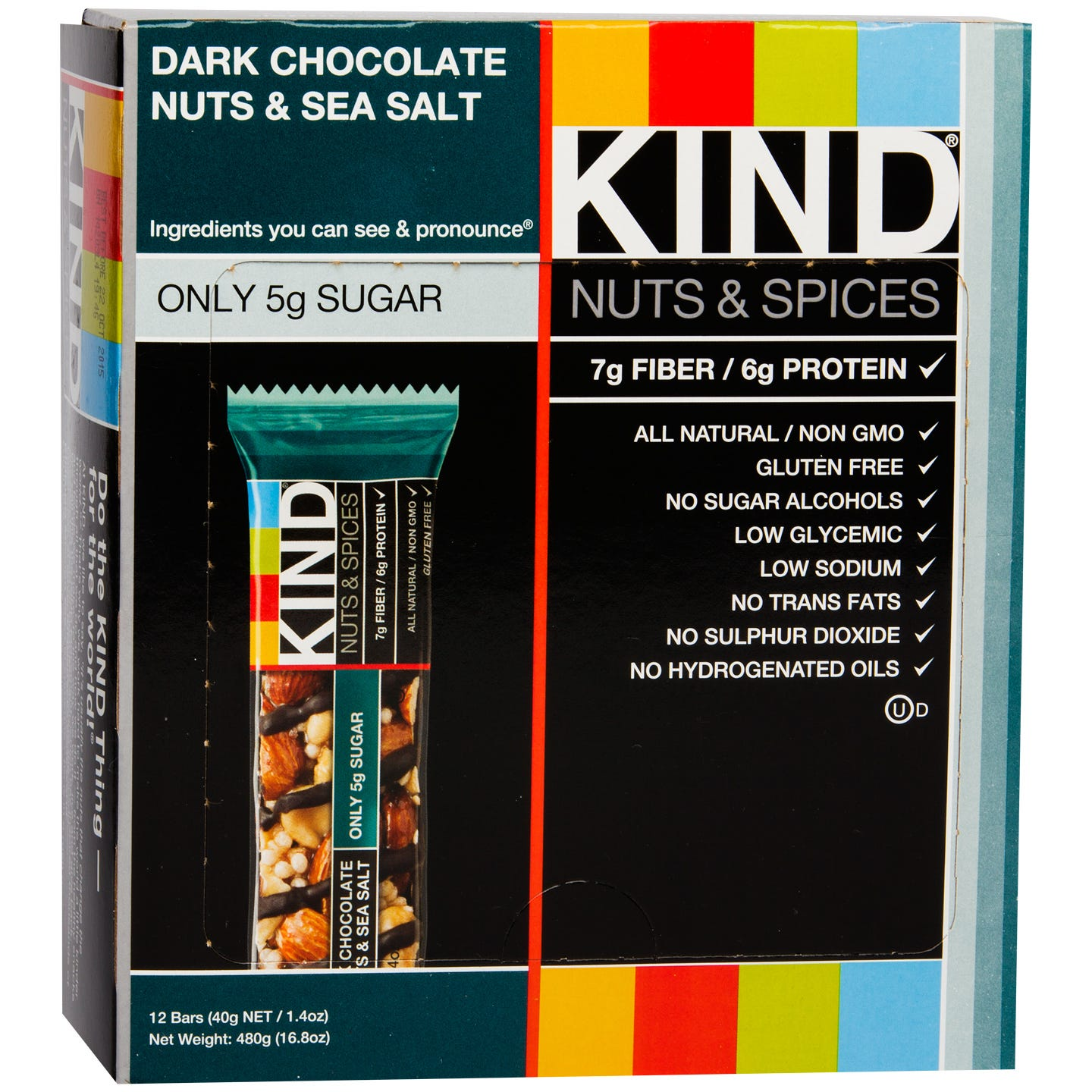 Kind Nuts & Spices Bar Dark Chocolate Nuts & Sea Salt (12 ct) - Rapid Diet Weight Loss Products Shop
