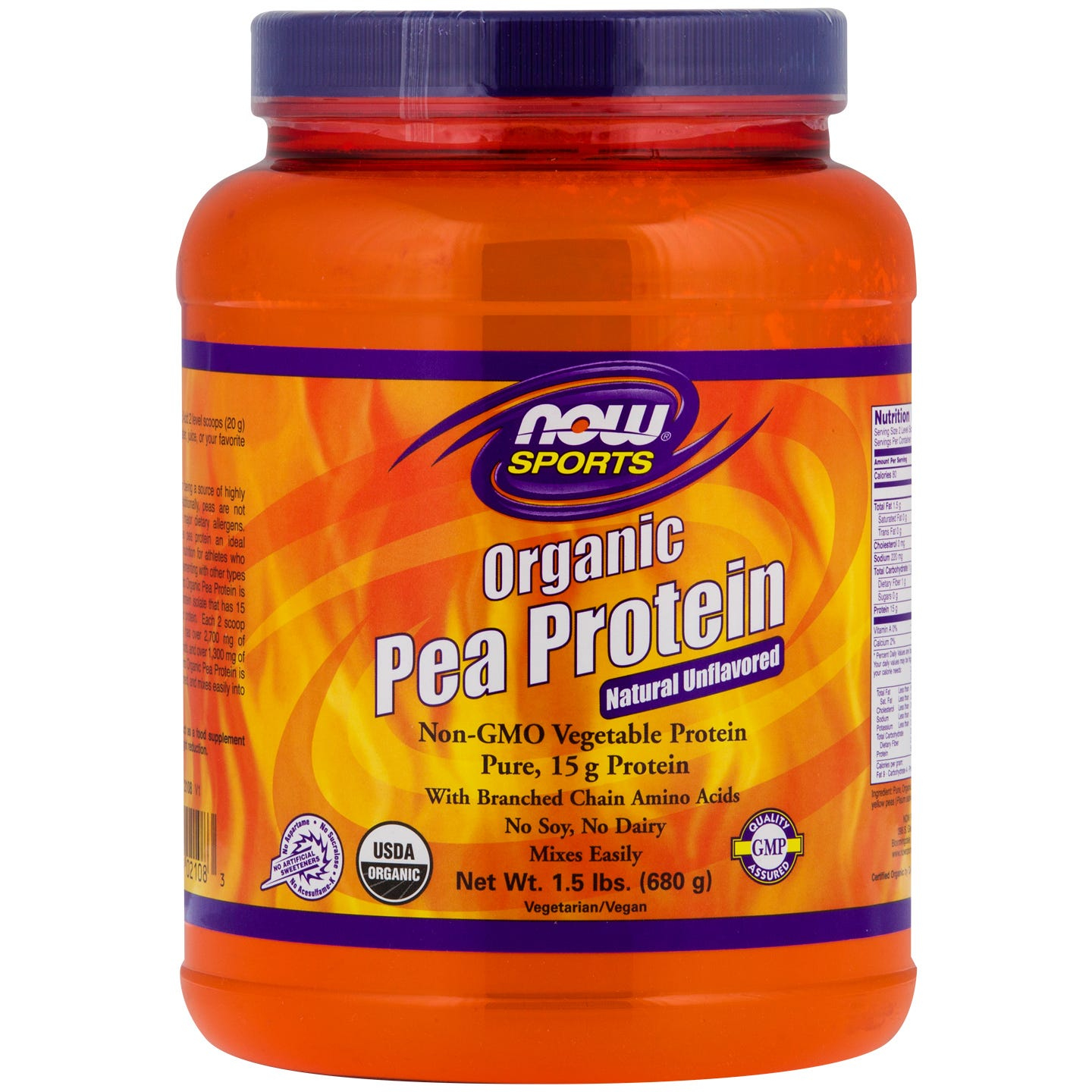 Sports Organic Pea Protein Unflavored 1.5lb, NOW Foods - Rapid Diet Weight Loss Products Shop