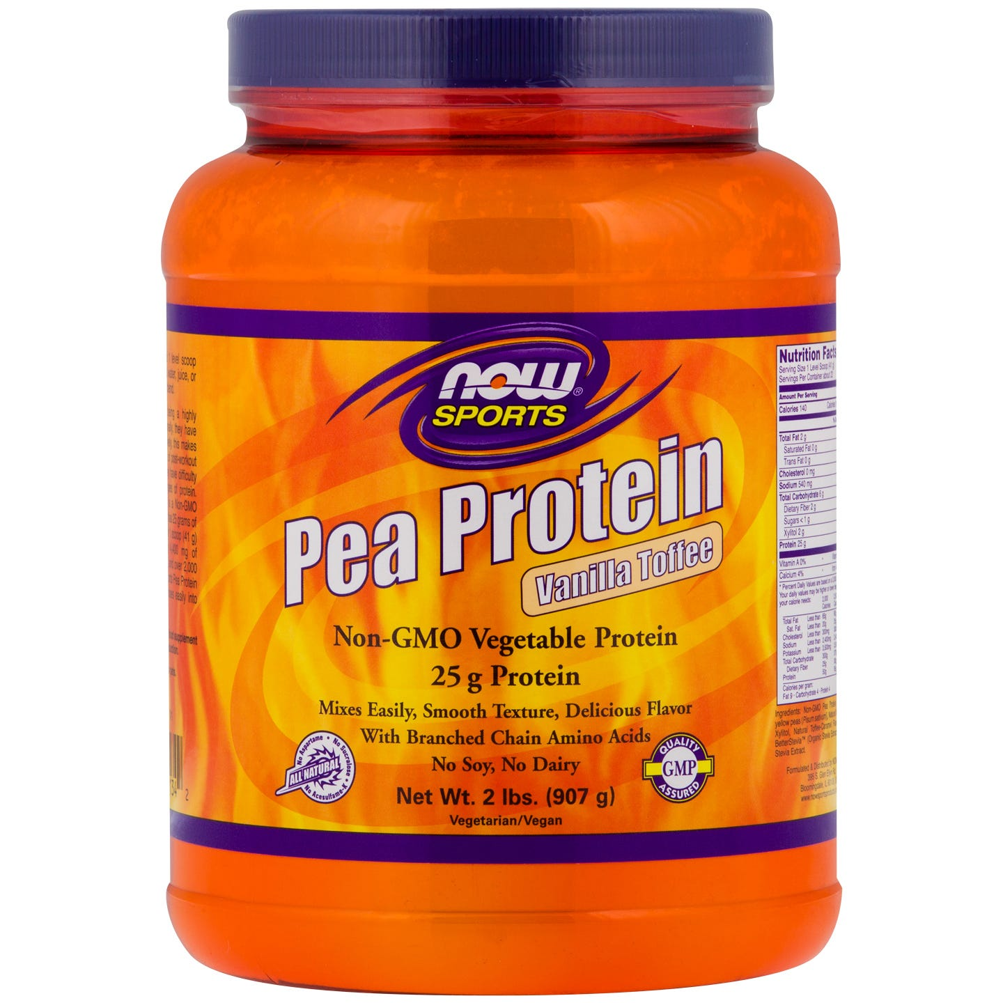 Sports Pea Protein Vanilla Toffee 2lb, NOW Foods - Rapid Diet Weight Loss Products Shop