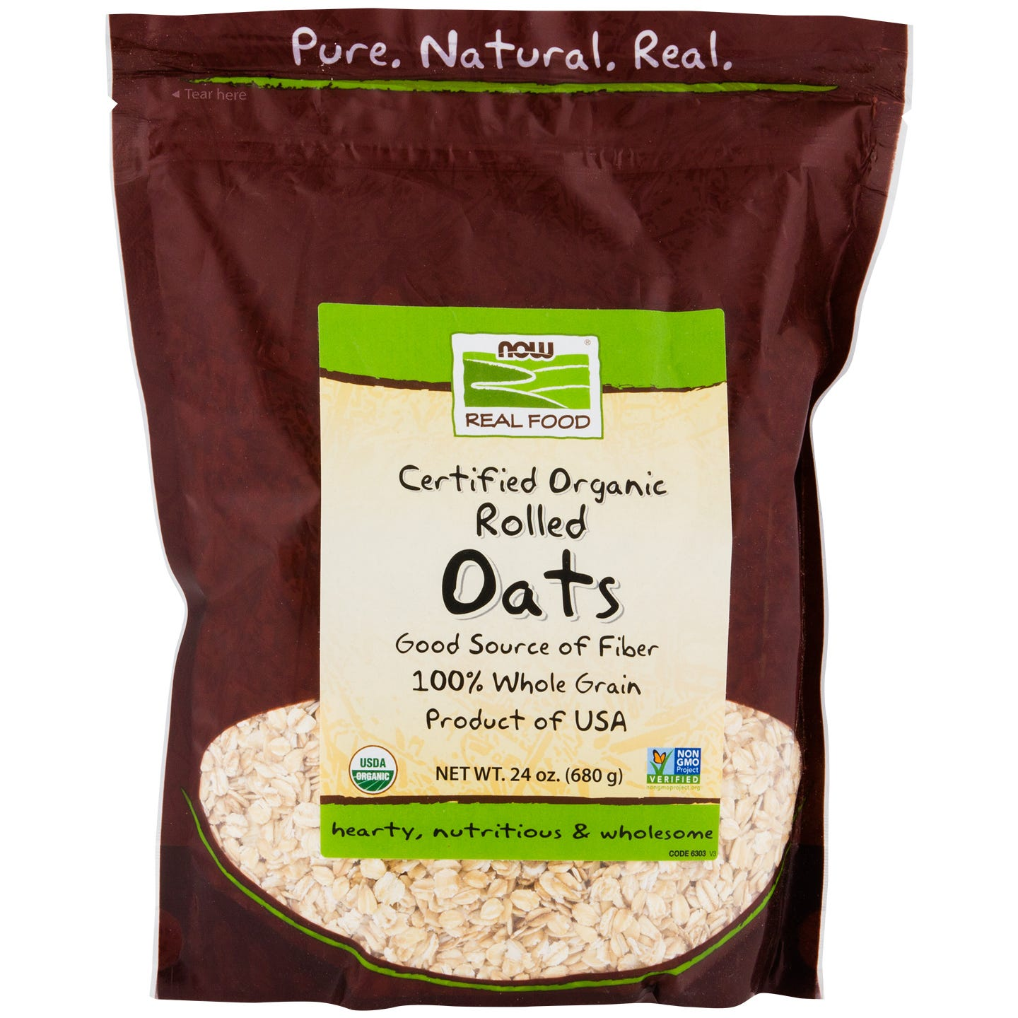 Real Food Organic Rolled Oats 24oz, NOW Foods - Rapid Diet Weight Loss Products Shop