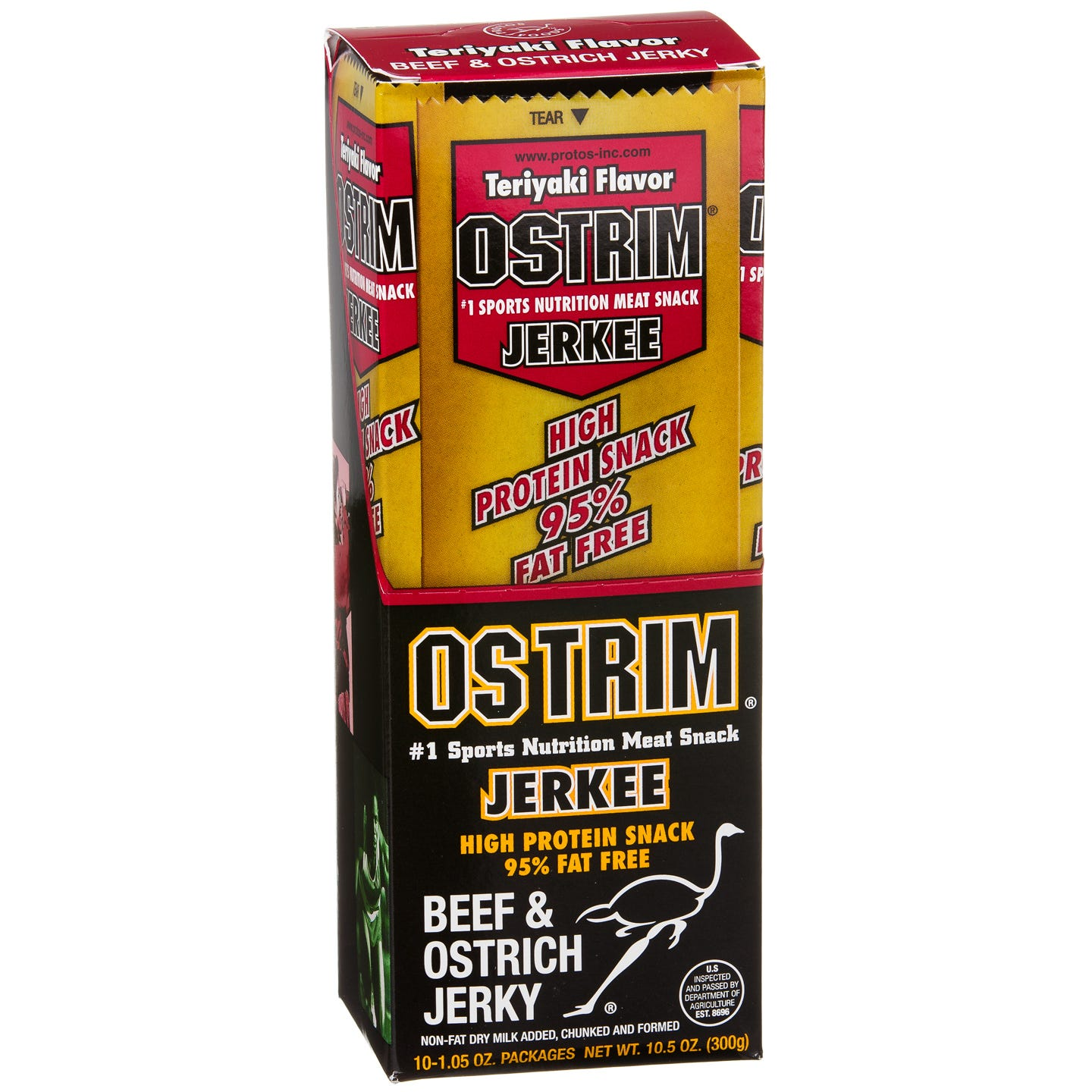 Ostrich & Beef JERKEE Meat Jerky Teriyaki (10 pc) - OSTRIM - Rapid Diet Weight Loss Products Shop
