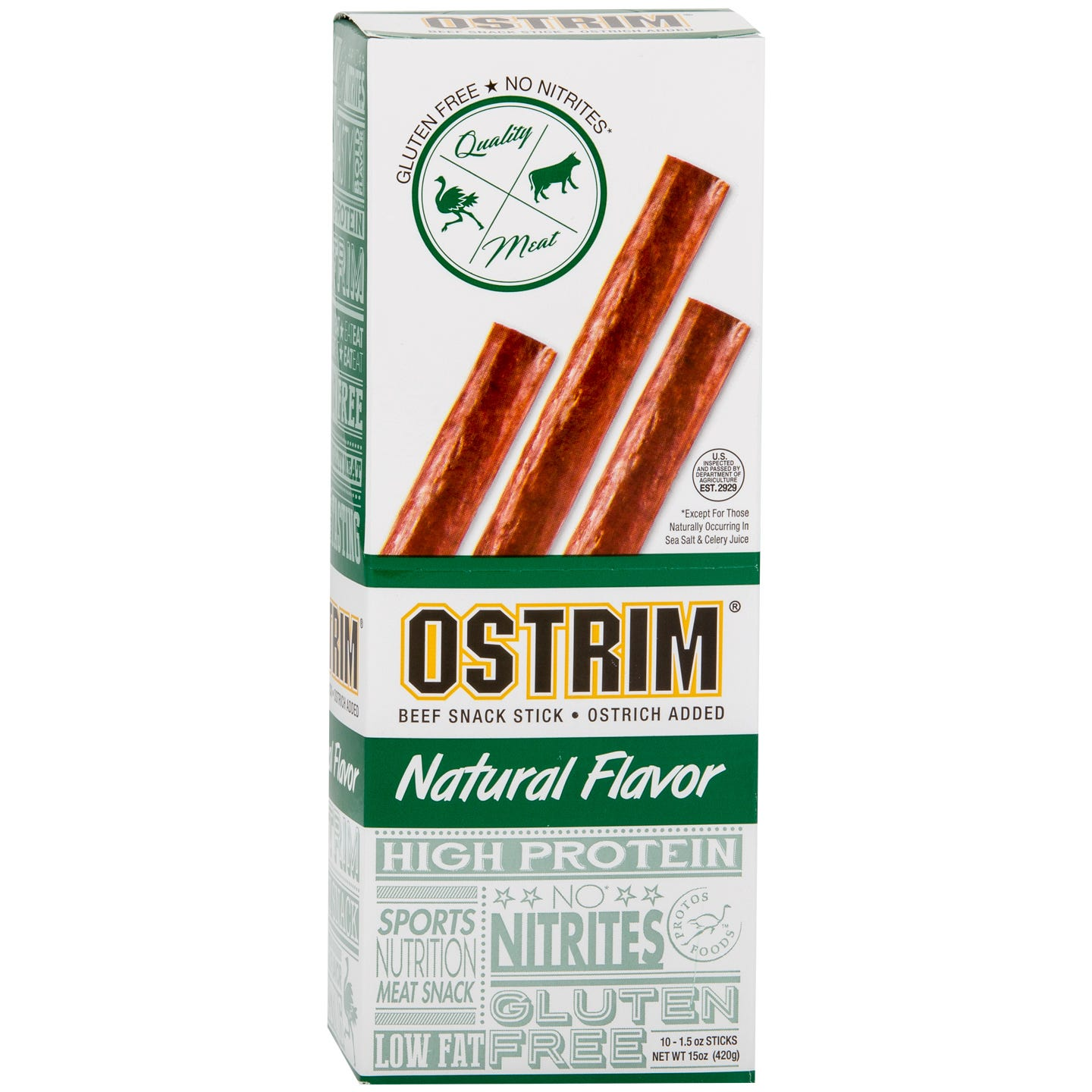 Ostrich & Beef Meat Stick Snacks Natural (10 pc) - OSTRIM - Rapid Diet Weight Loss Products Shop