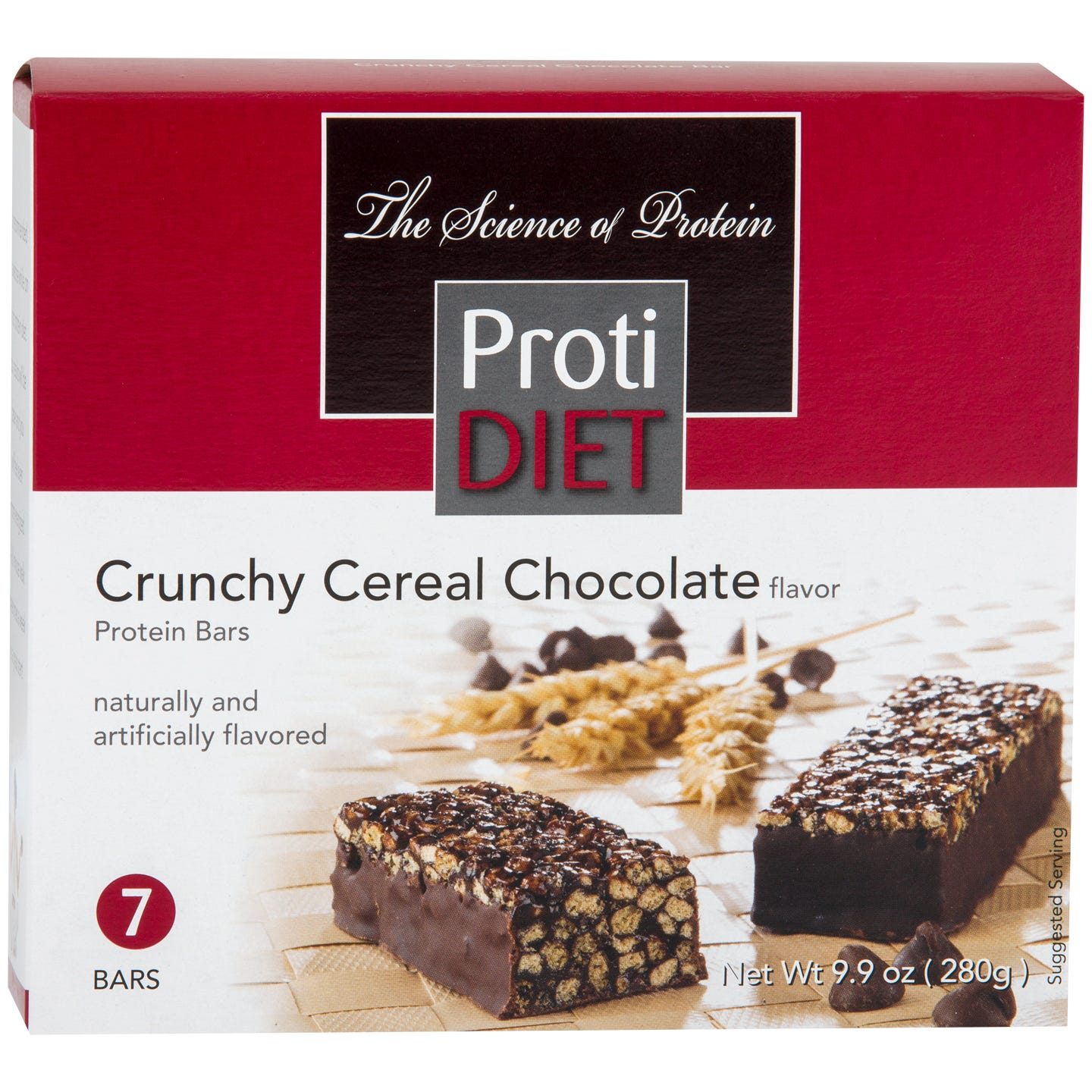 Crunchy Cereal Protein Bars Chocolate (7 Ct) - ProtiDiet
