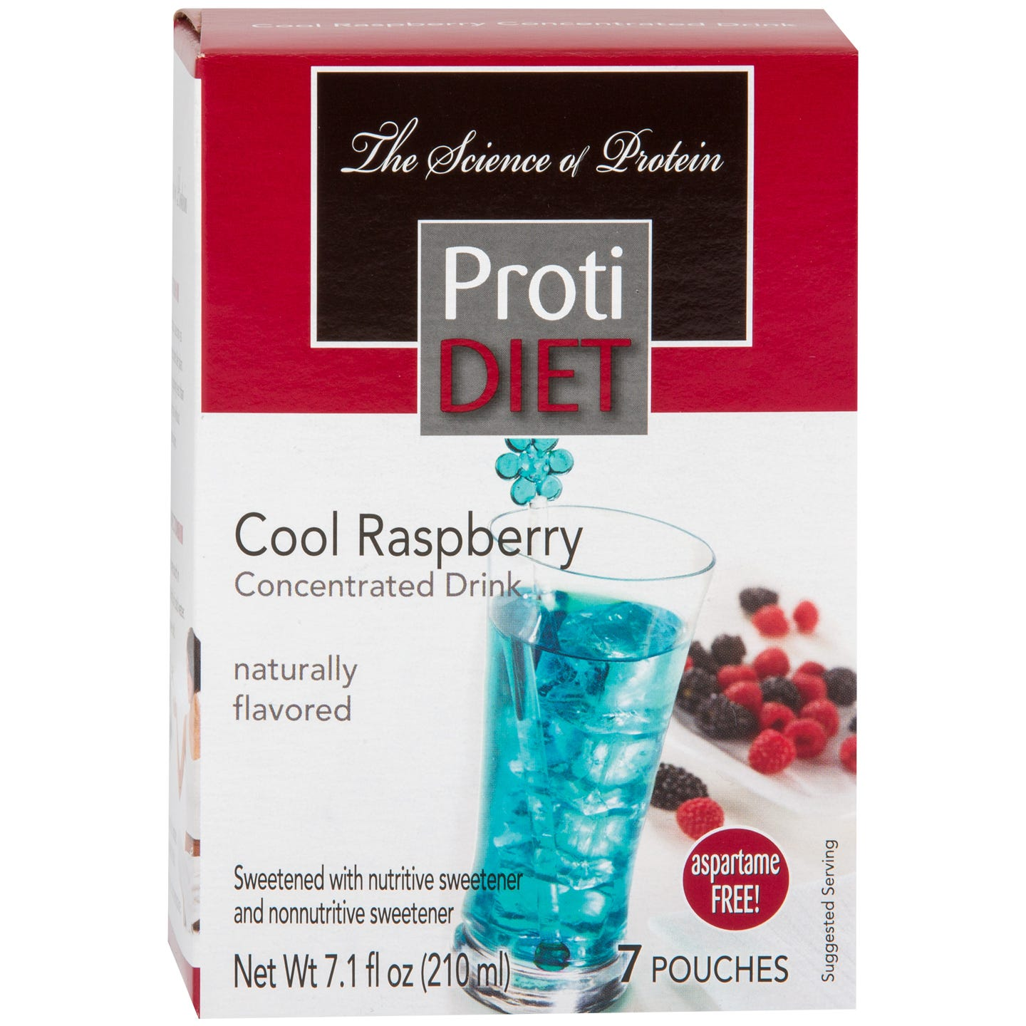 Protein Fruit Drink Concentrate Cool Raspberry (7 Ct) - ProtiDiet