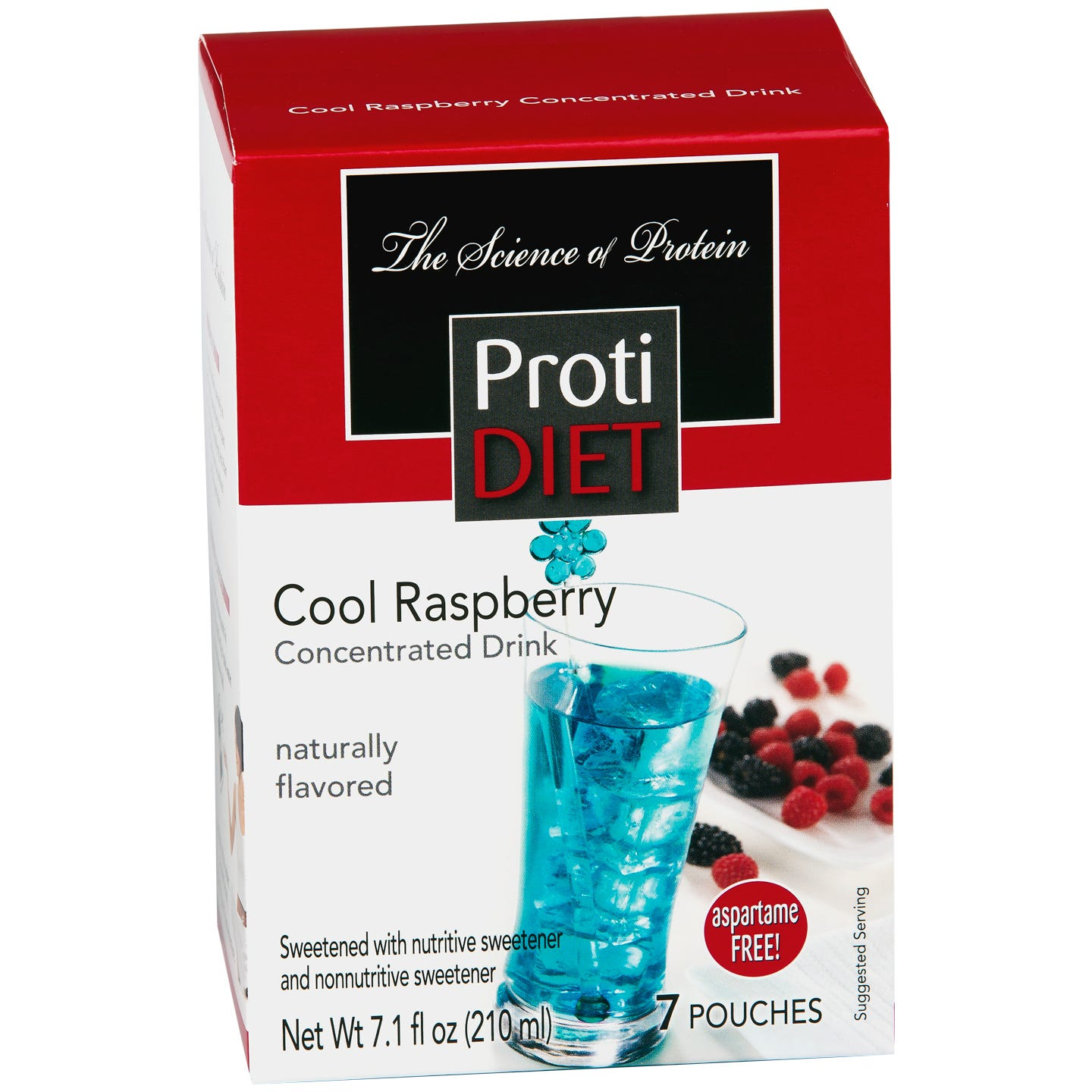 Protein Fruit Drink Concentrate Cool Raspberry (7 ct) - ProtiDiet - Rapid Diet Weight Loss Products Shop
