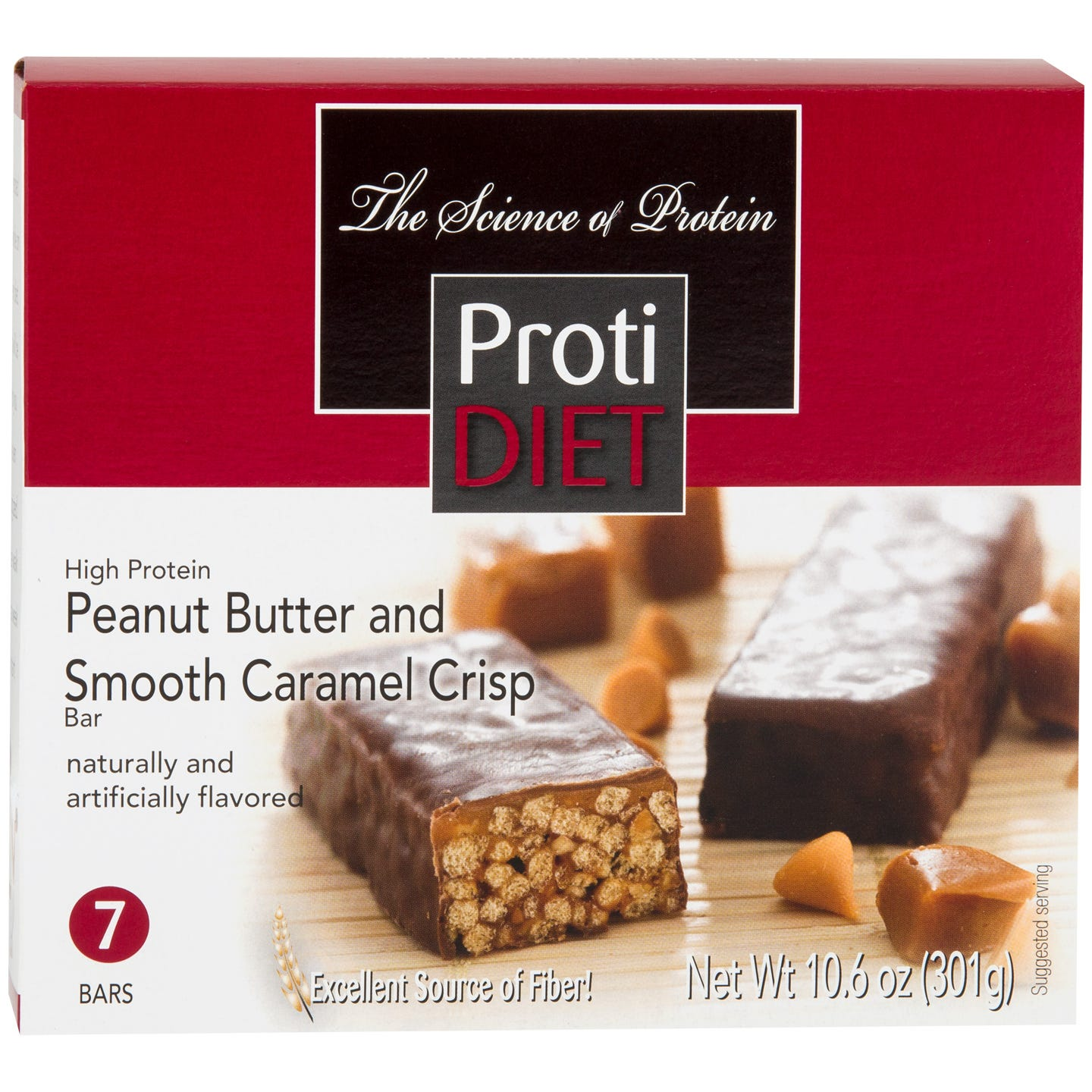High Protein Fiber Bars Peanut Butter and Smooth Caramel Crisp (7 Ct) - ProtiDiet