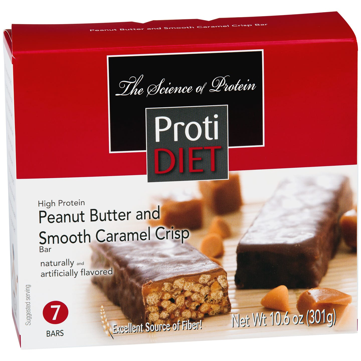 High Protein Fiber Bars Peanut Butter & Smooth Caramel Crisp (7 ct) - ProtiDiet - Rapid Diet Weight Loss Products Shop
