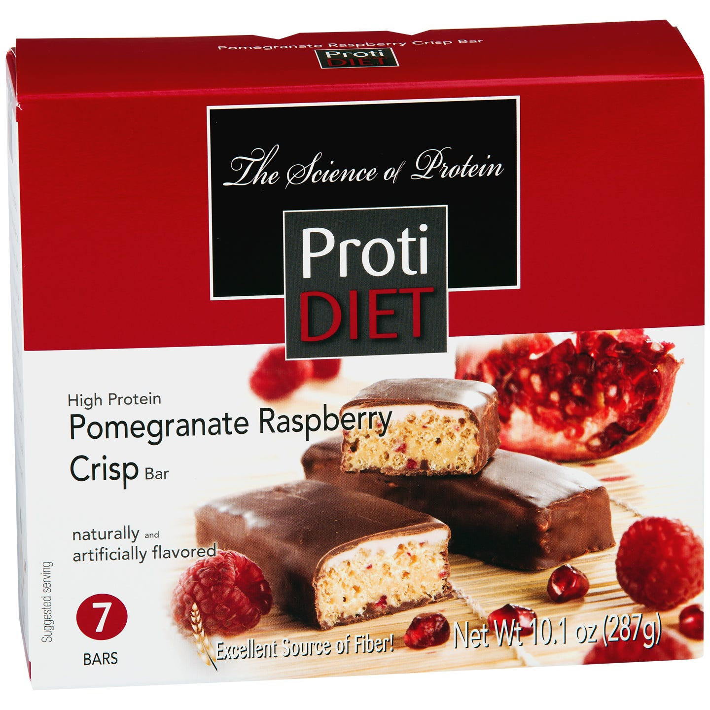 ProtiDiet High Fiber Protein Bars - Pomegranate Raspberry Crispy