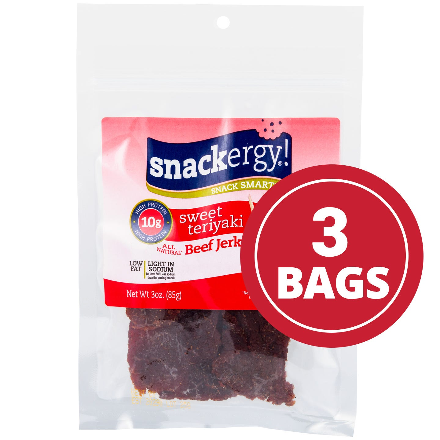 Snackergy All Natural Beef Jerky  Sweet Teriyaki - 3 Oz - 3 PK