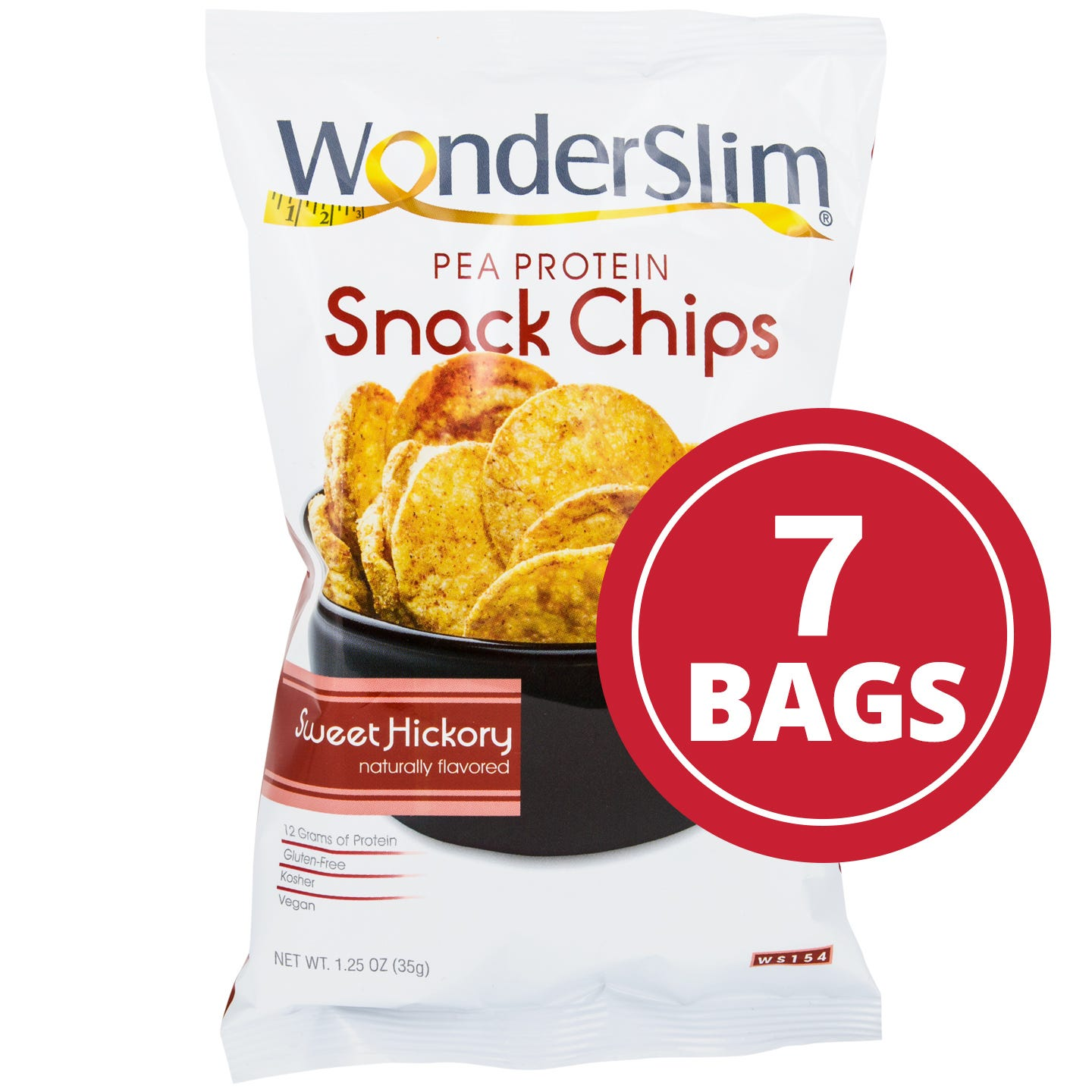 WonderSlim Pea Protein Snack Chips  Sweet Hickory - 1.25 Oz (7 Ct)